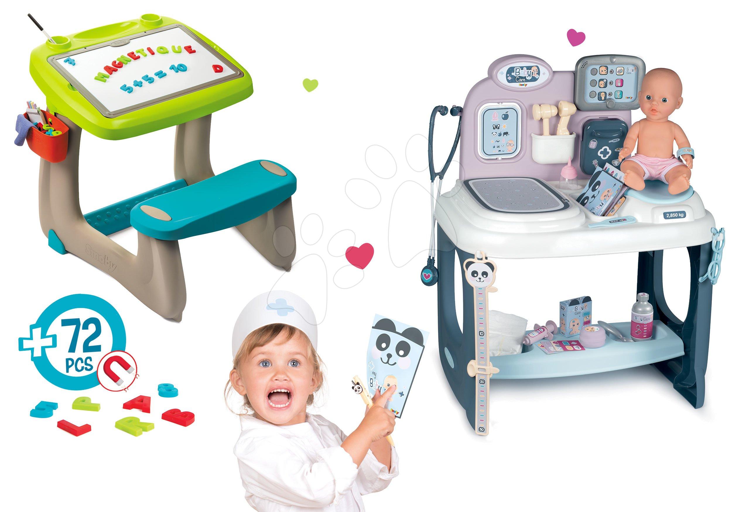 Smoby set detská lavica s odkladacím priestorom a obojstrannou tabuľou Activity a magnetky 420102-6