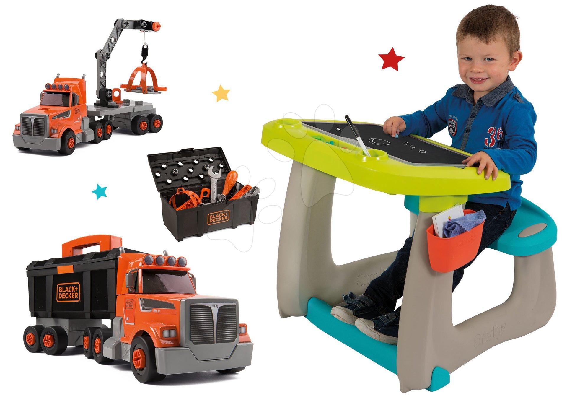 Set lavica na kreslenie a magnetky Little Pupils Desk Smoby s obojstrannou tabuľou a kamión s pracovným kufríkom Black&Decker Truck