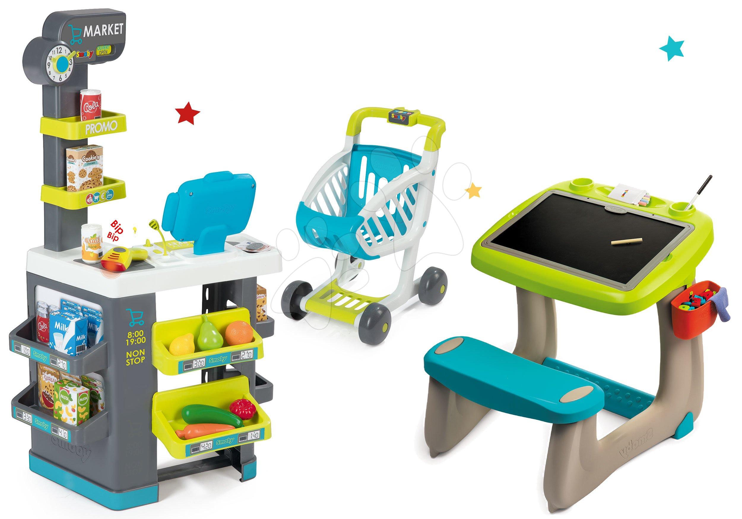 Set lavica na kreslenie a magnetky Little Pupils Desk Smoby s obojstrannou tabuľou a obchod s potravinami Market s elektronickou pokladňou