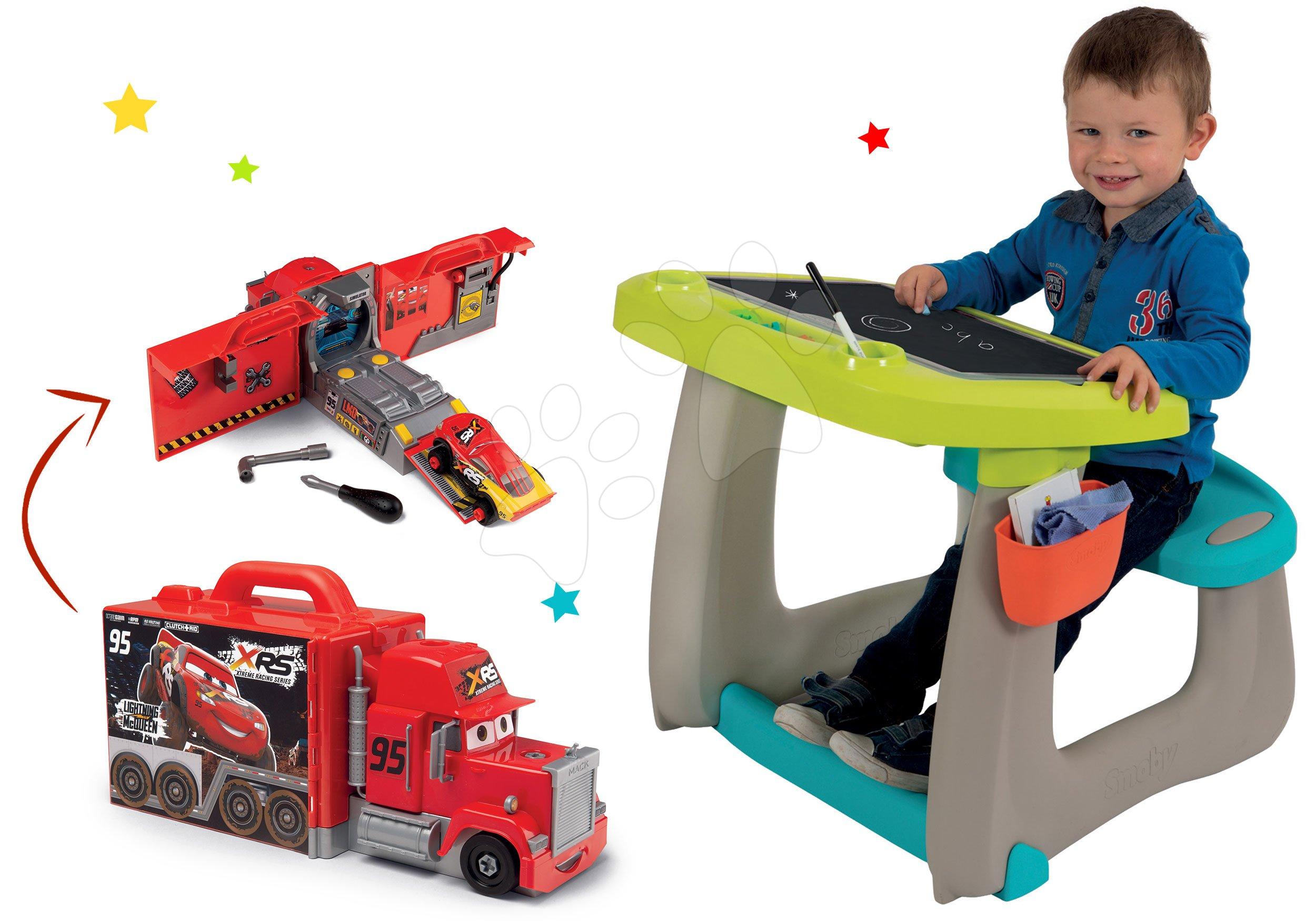 Smoby set detská lavica s obojstrannou tabuľou Activity a kamión Bob Staviteľ 420101-3