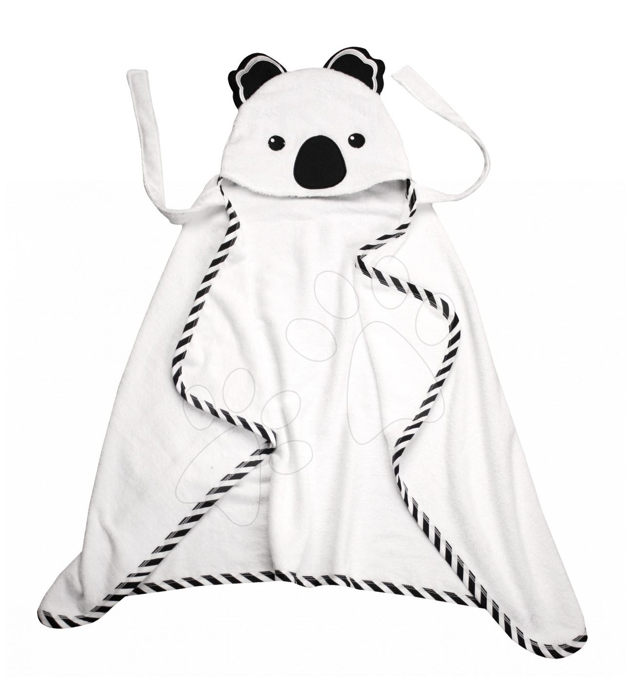 Osuška pro nejmenší Koala Bamboo toTs-smarTrike Black&White s kapucí 100% jemný bambus a bavlna od 0 měsíců
