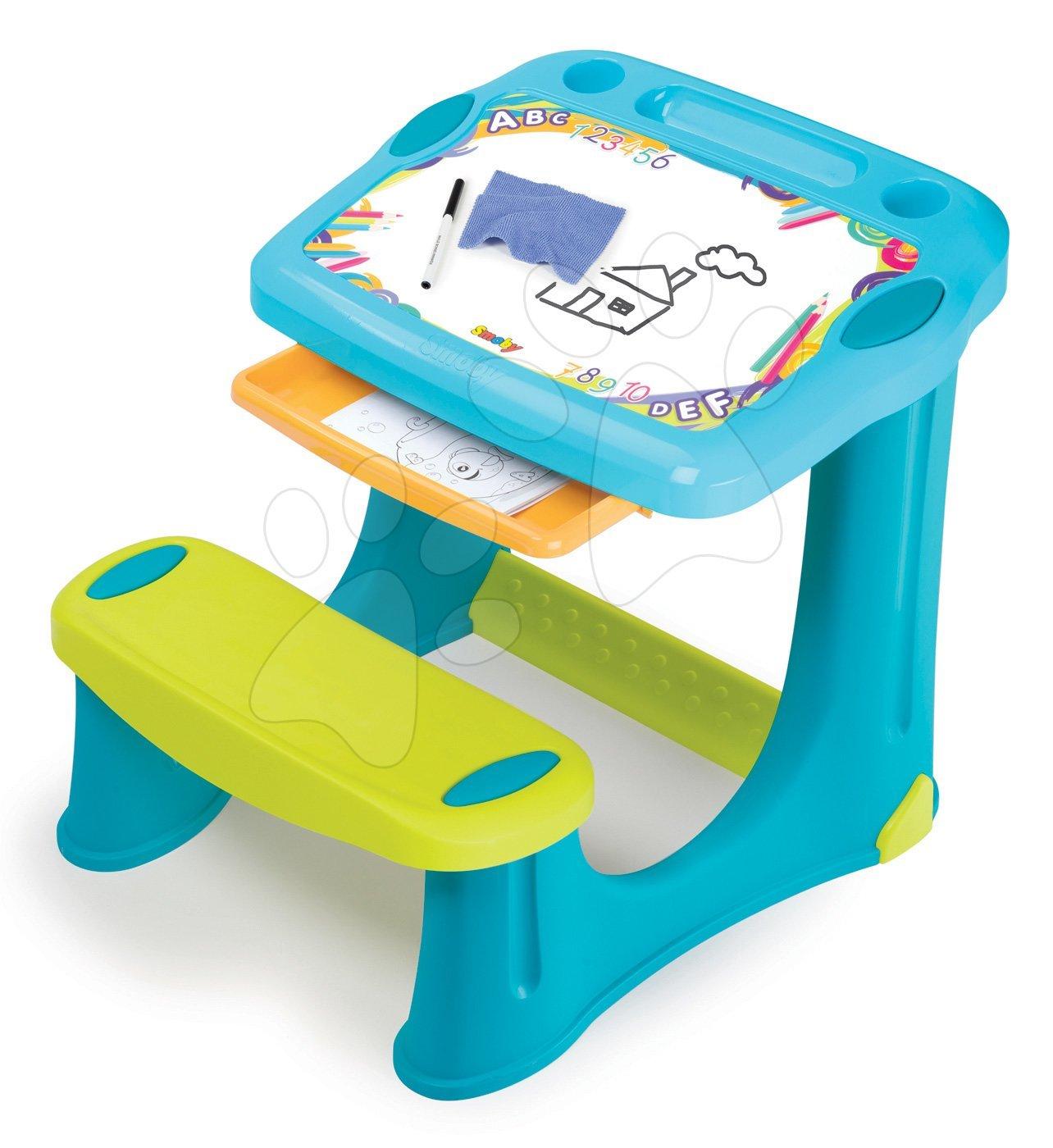 Lavica na kreslenie Magic Desk Smoby Kresli a zmaž s odkladacím priestorom a doplnkami od 2 rokov modrá