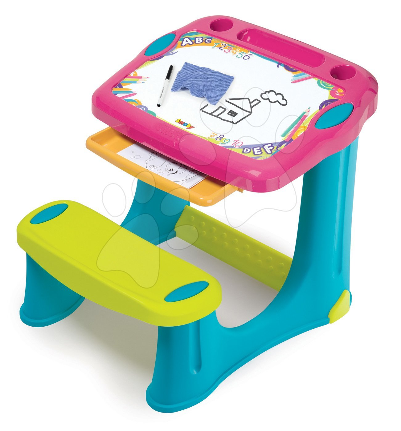 Lavice na kreslení Magic Desk Smoby Kresli a smaž s odkládacím prostorem a doplňky od 2 let růžová