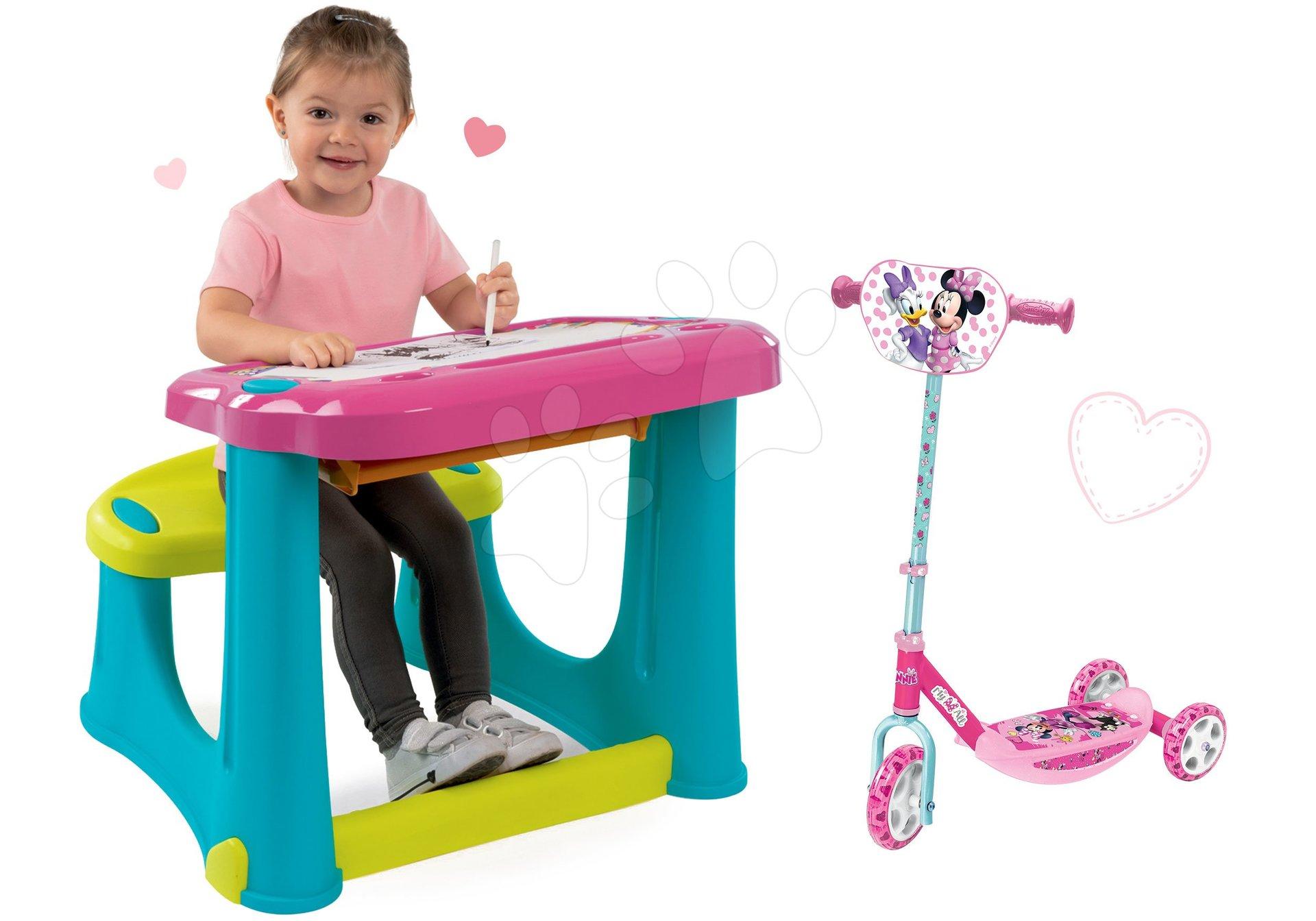 Set lavice na kreslení Magic Desk Smoby Kresli a smaž růžová a koloběžka Minnie tříkolová