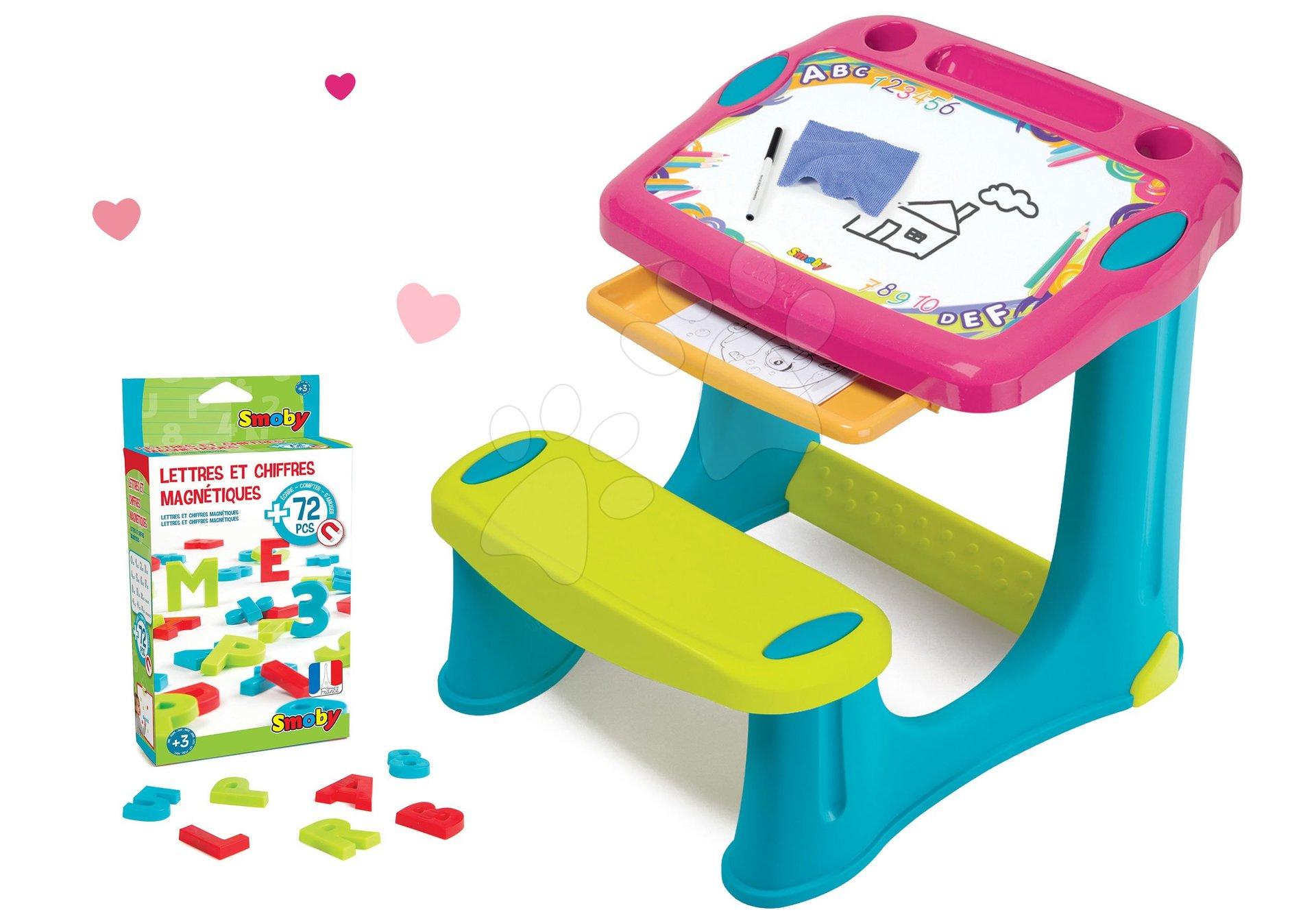 Set lavice na kreslení Magic Desk Smoby Kresli a smaž růžová a magnetická abeceda a čísla 72 kusů