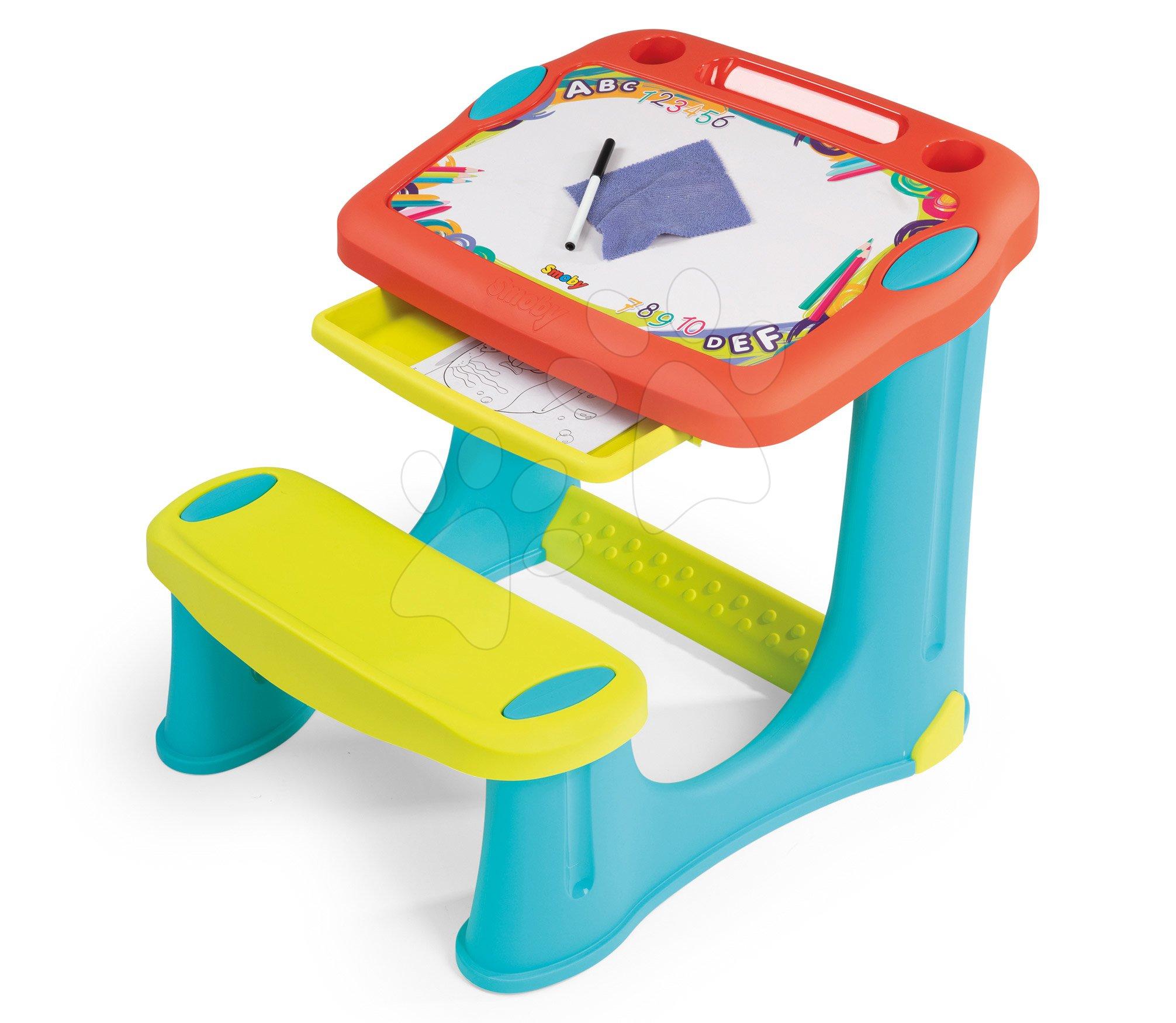 Školské lavice - Lavica na kreslenie Magic Desk Smoby Kresli a zmaž so 4 odkladacími priestormi a 12 doplnkami od 24 mes