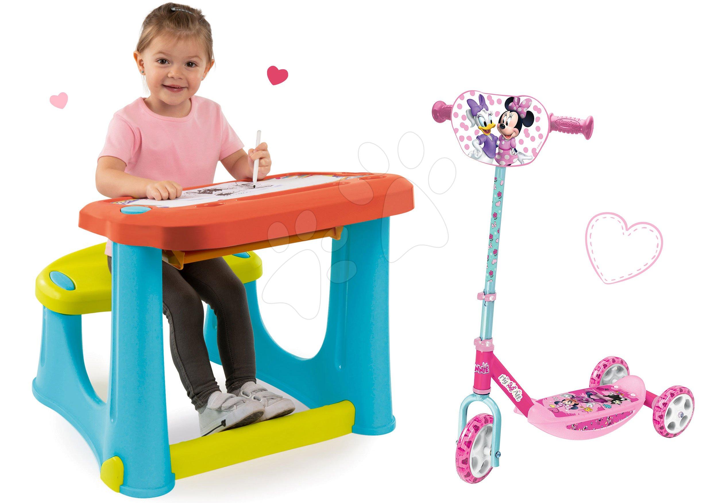 Set lavica na kreslenie Magic Desk Kresli a zmaž Smoby a kolobežka Minnie trojkolesová