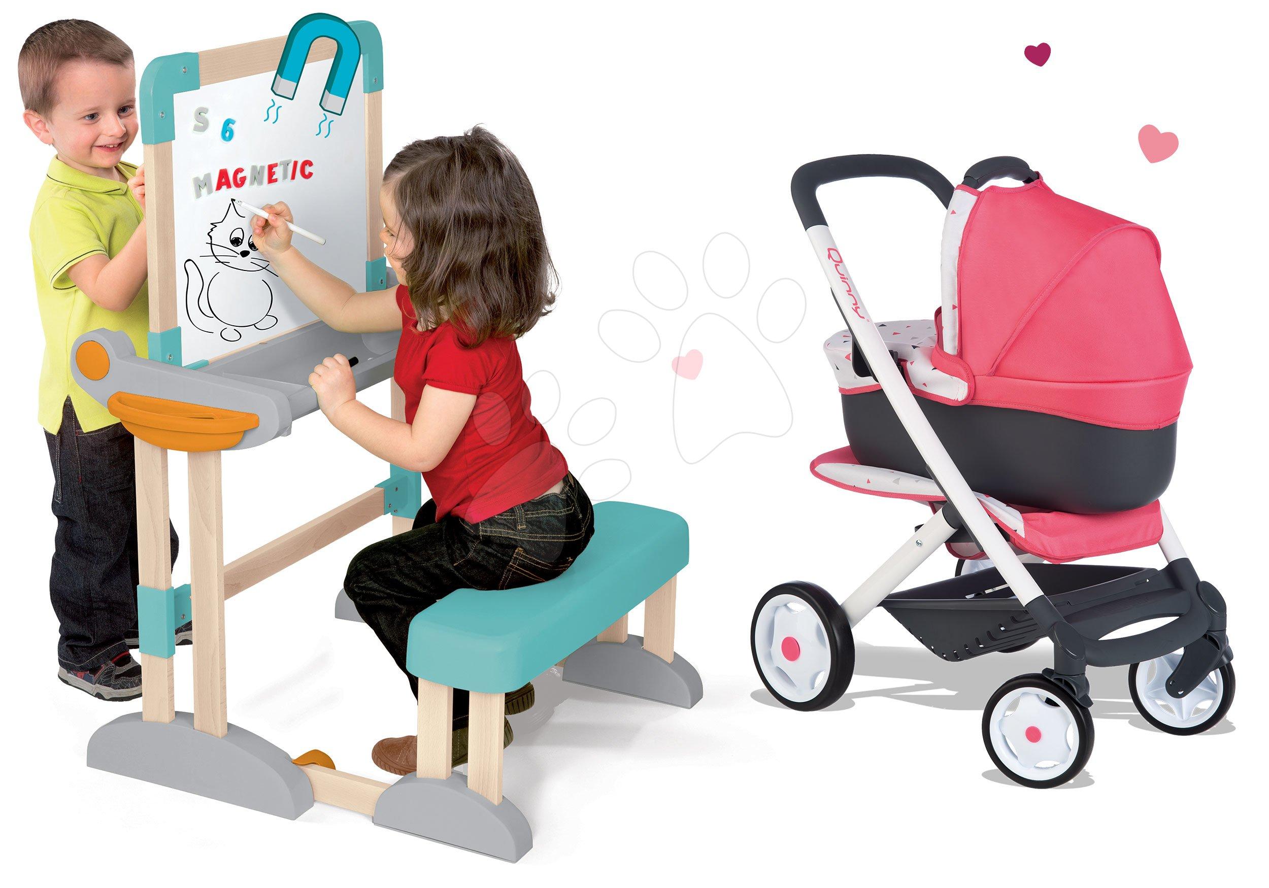 Set drevená lavica Modulo Space skladacia magnetická Smoby na kriedu a kočík pre bábiku hlboký a športový Trio Pastel