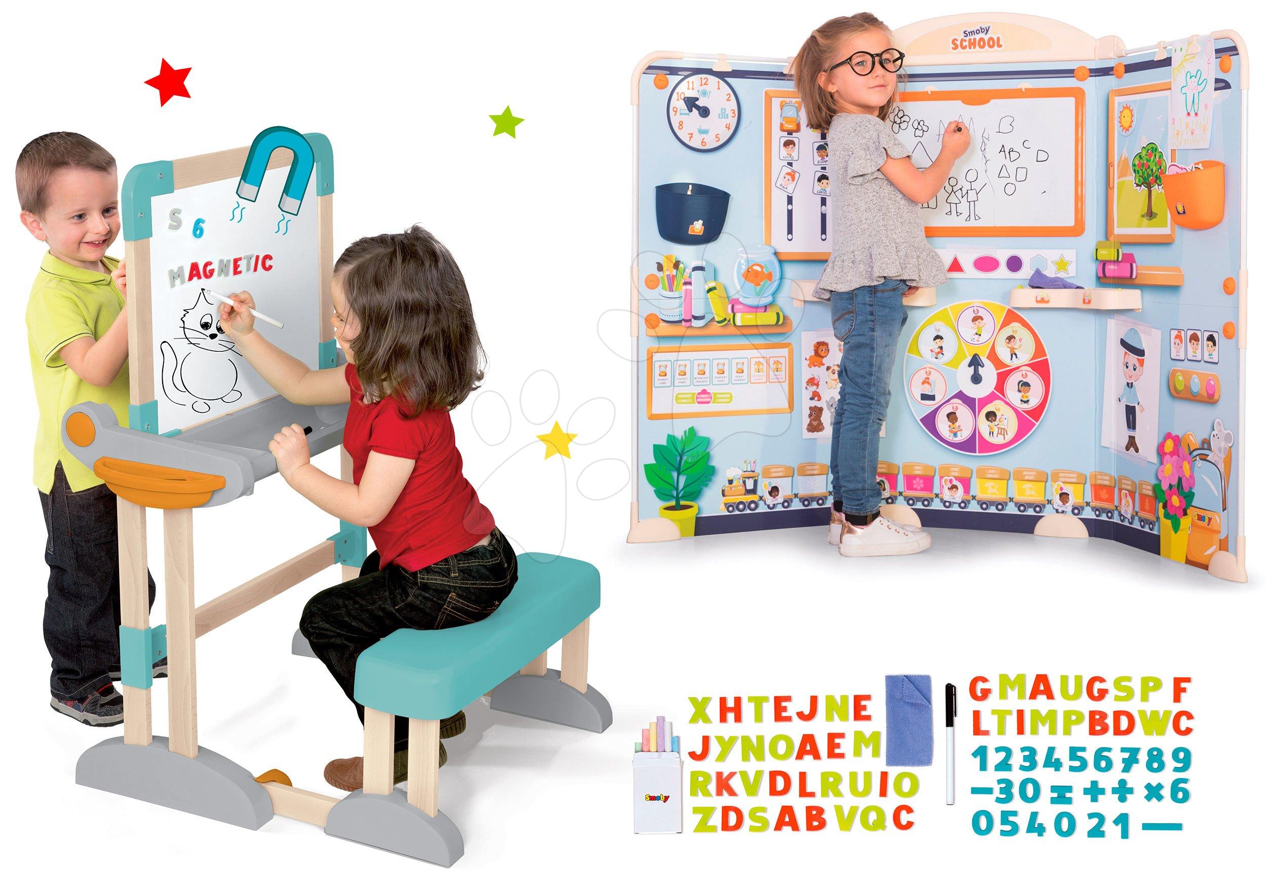 Set drevená lavica Modulo Space skladacia magnetická Smoby na kriedu a hra na školu učiteľ a žiak s náučnými hrami