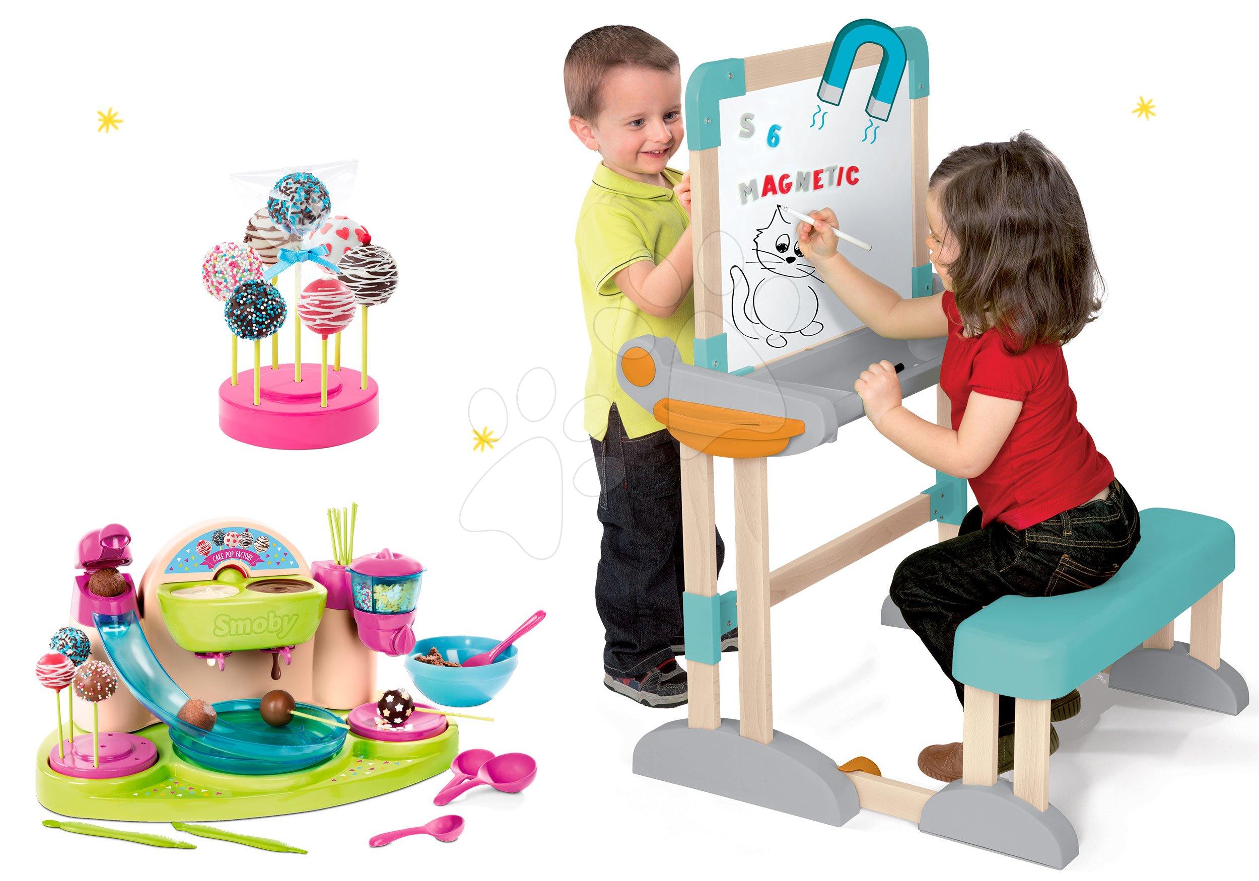 Set drevená lavica Modulo Space skladacia magnetická Smoby na kriedu a hravá kuchárka Cukráreň