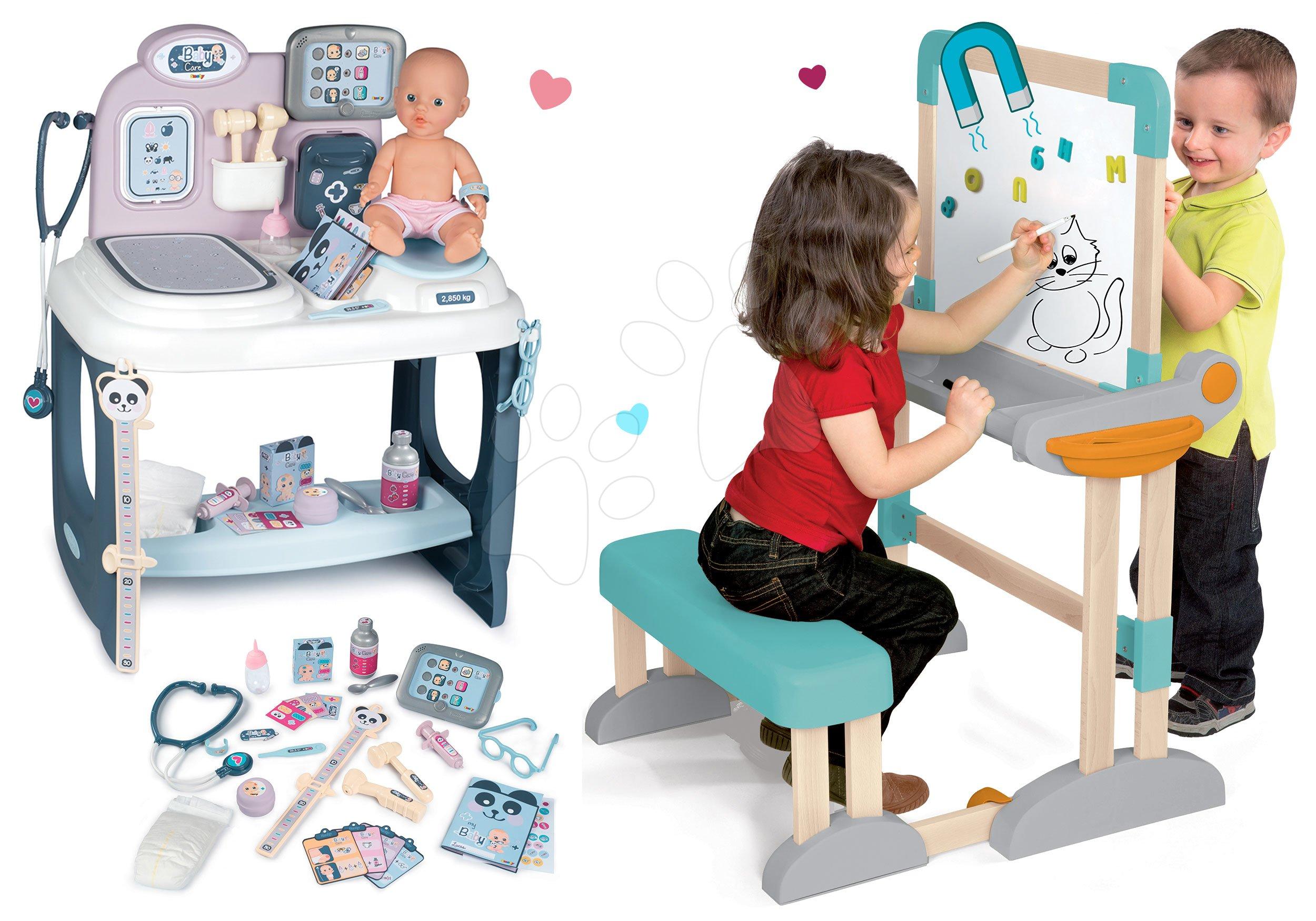 Set drevená lavica Modulo Space skladacia magnetická Smoby na kriedu a zdravotnícky pult pre lekára s cikajúcou bábikou