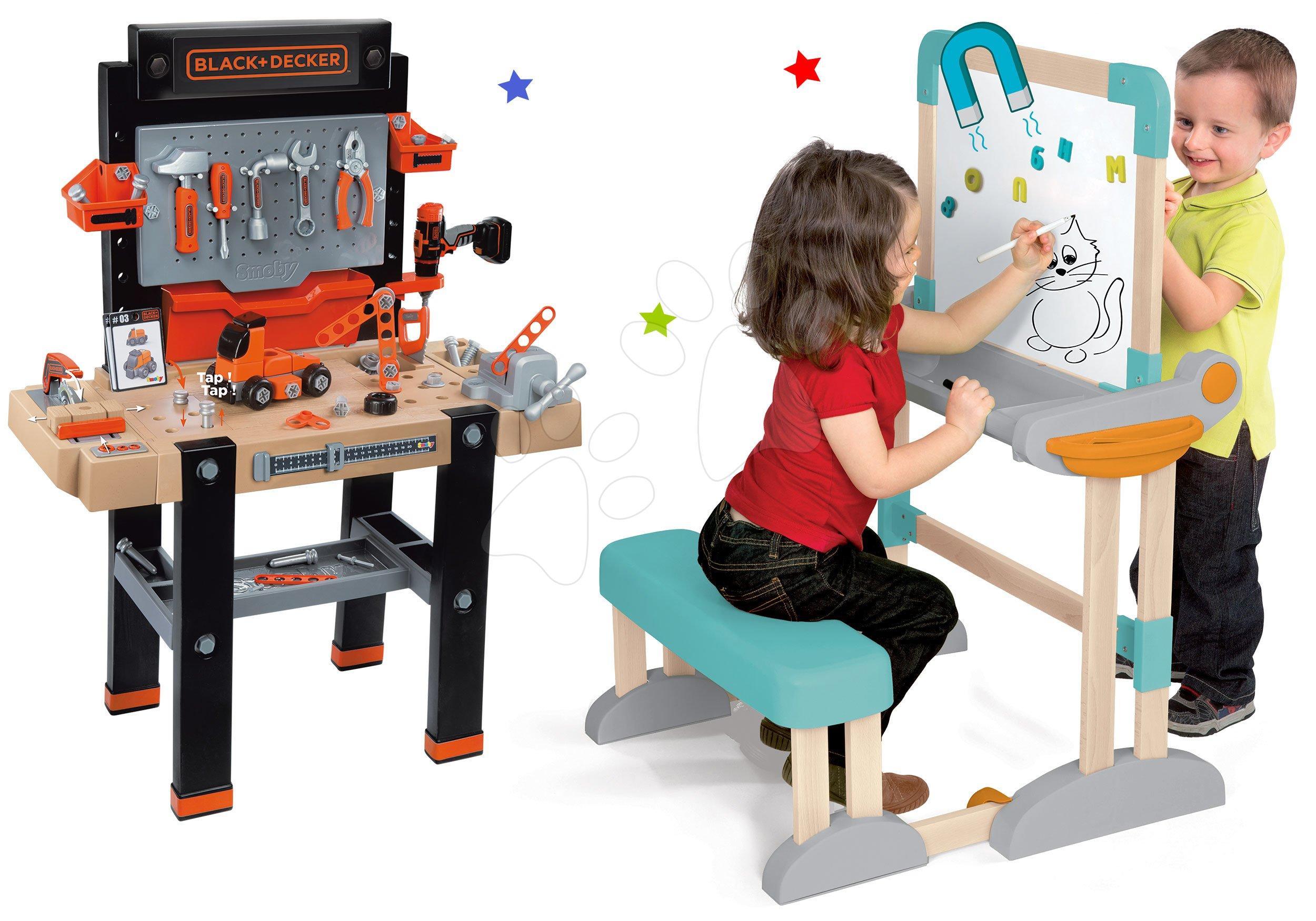 Set drevená lavica Modulo Space skladacia magnetická Smoby na kriedu a pracovný montážny stôl Black&Decker so skladacím autom