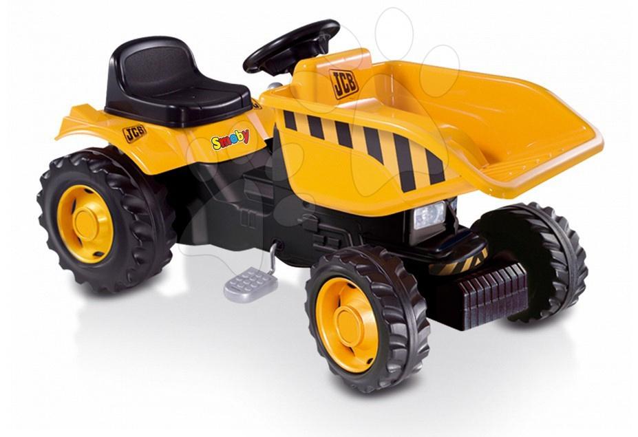 Staré položky - Traktor Dumper Smoby žltý s prilbou a vyklápacou plošinou