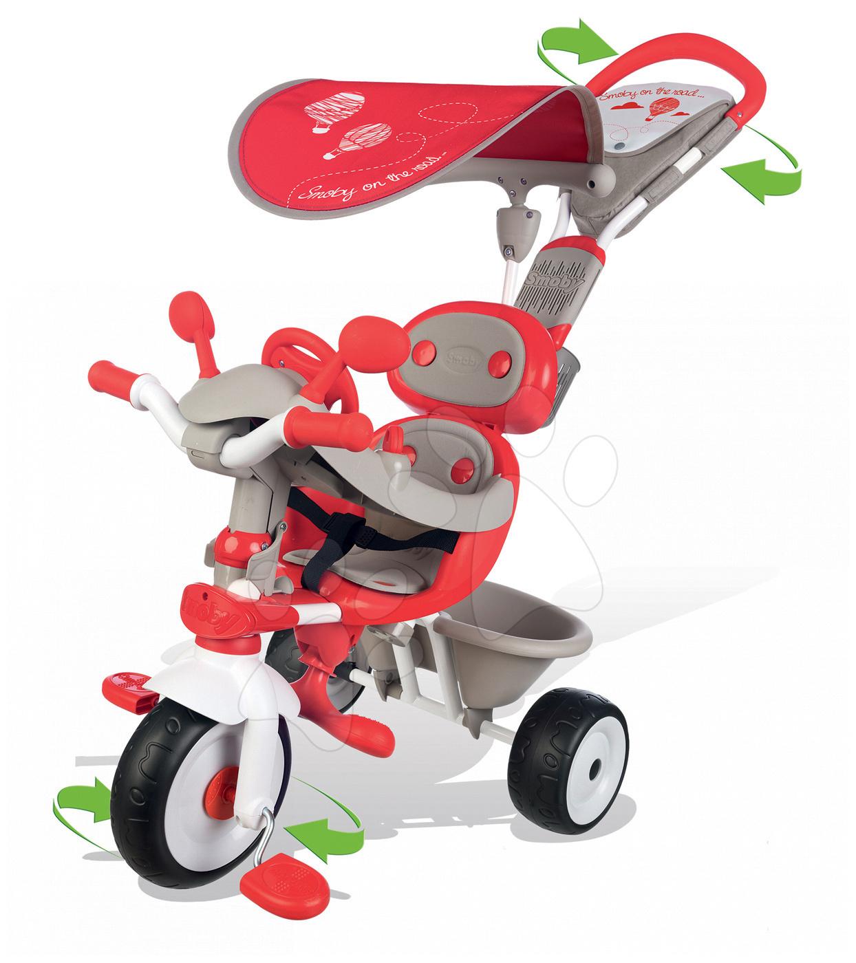 Trojkolky od 10 mesiacov - Trojkolka Baby Driver Confort Smoby červená od 10 mes