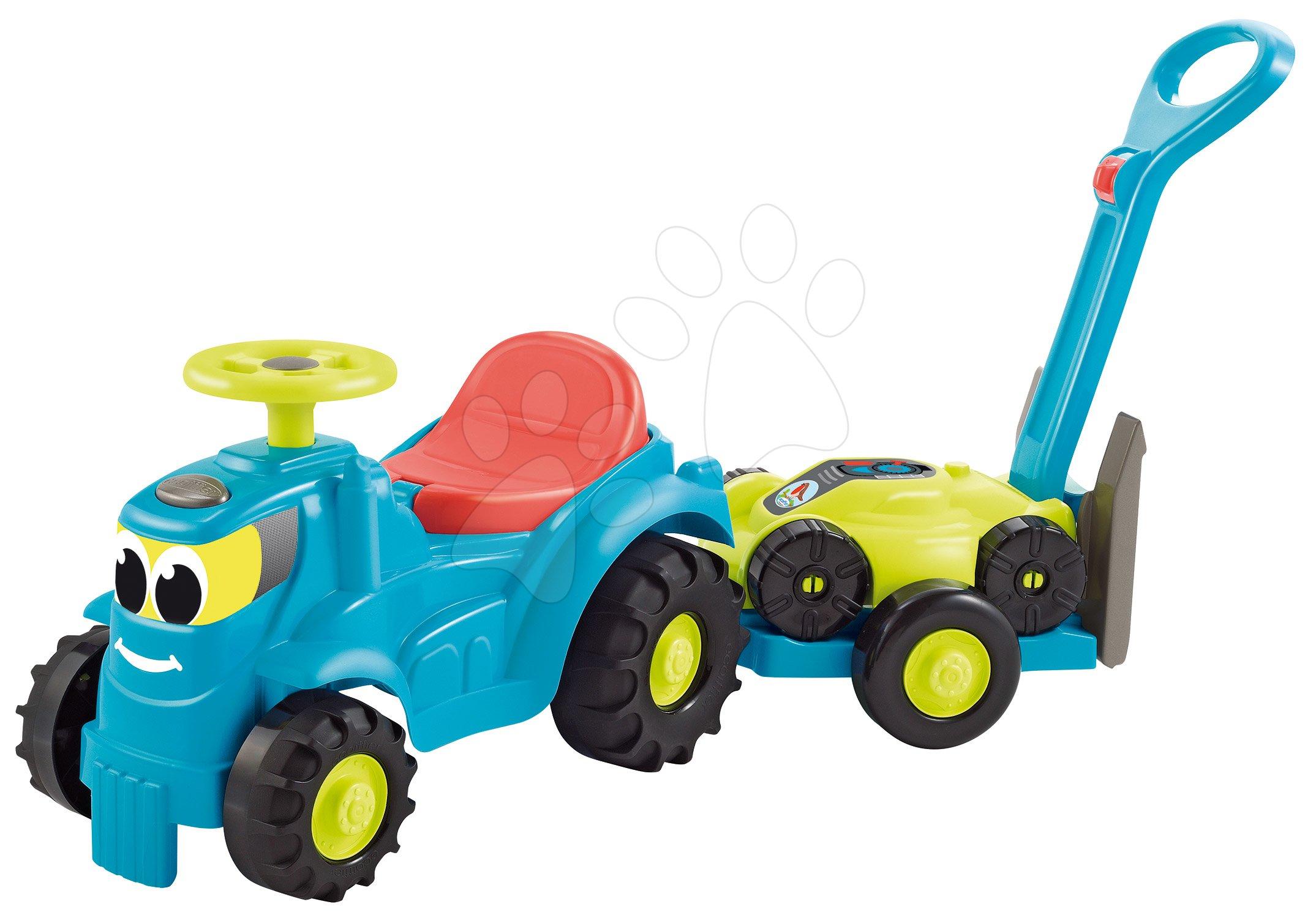 Odrážedlo s přívěsem a sekačkou Traktor 2v1 Garden&Seasons Écoiffier od 18 měsíců tyrkysové