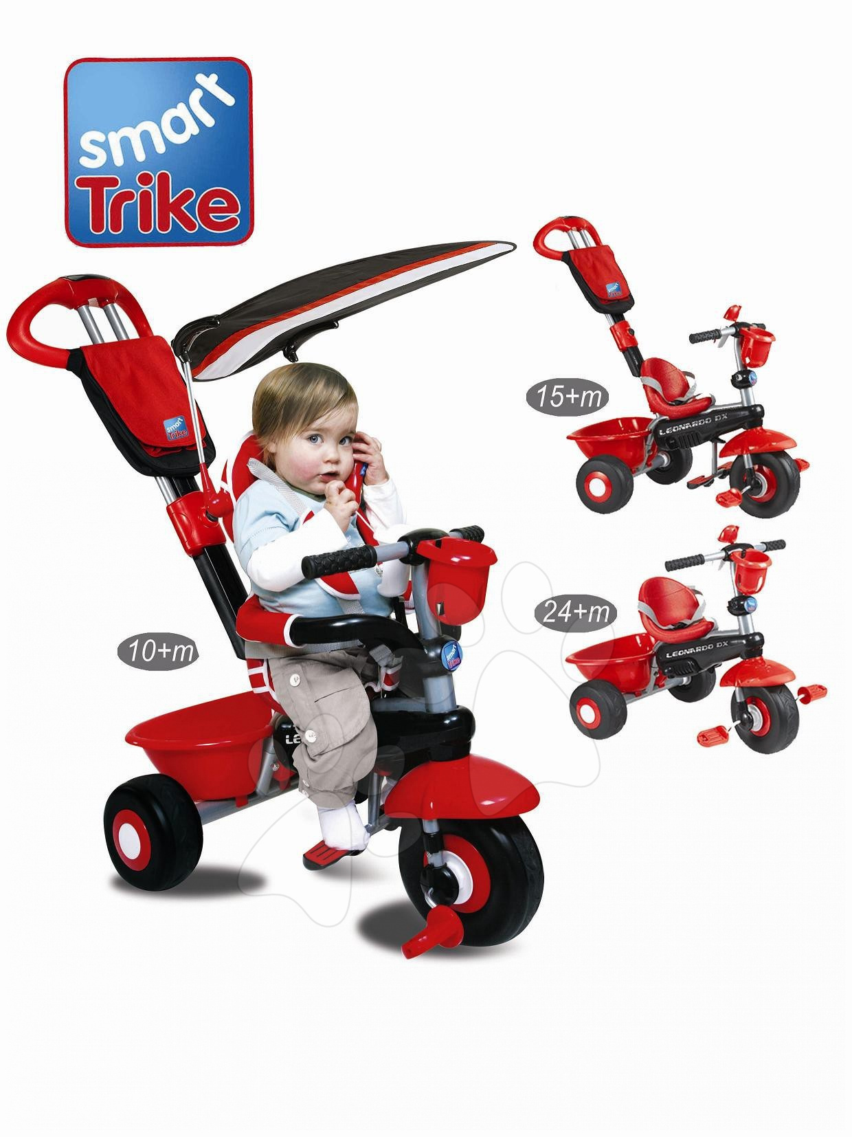Triciklik 10 hónapos kortól - Tricikli pedálos Leonardo Delux smarTrike piros – fekete