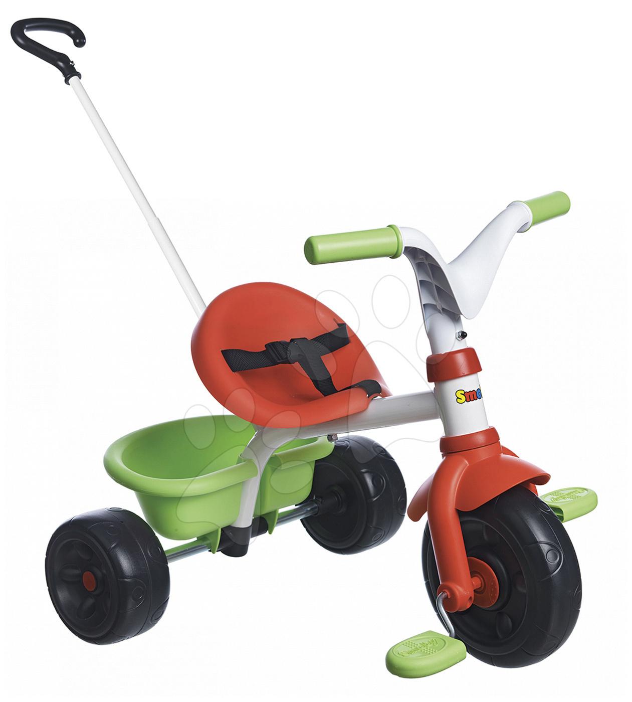 Tříkolka Be Fun Smoby s vodicí tyčí zeleno-červená od 15 měsíců