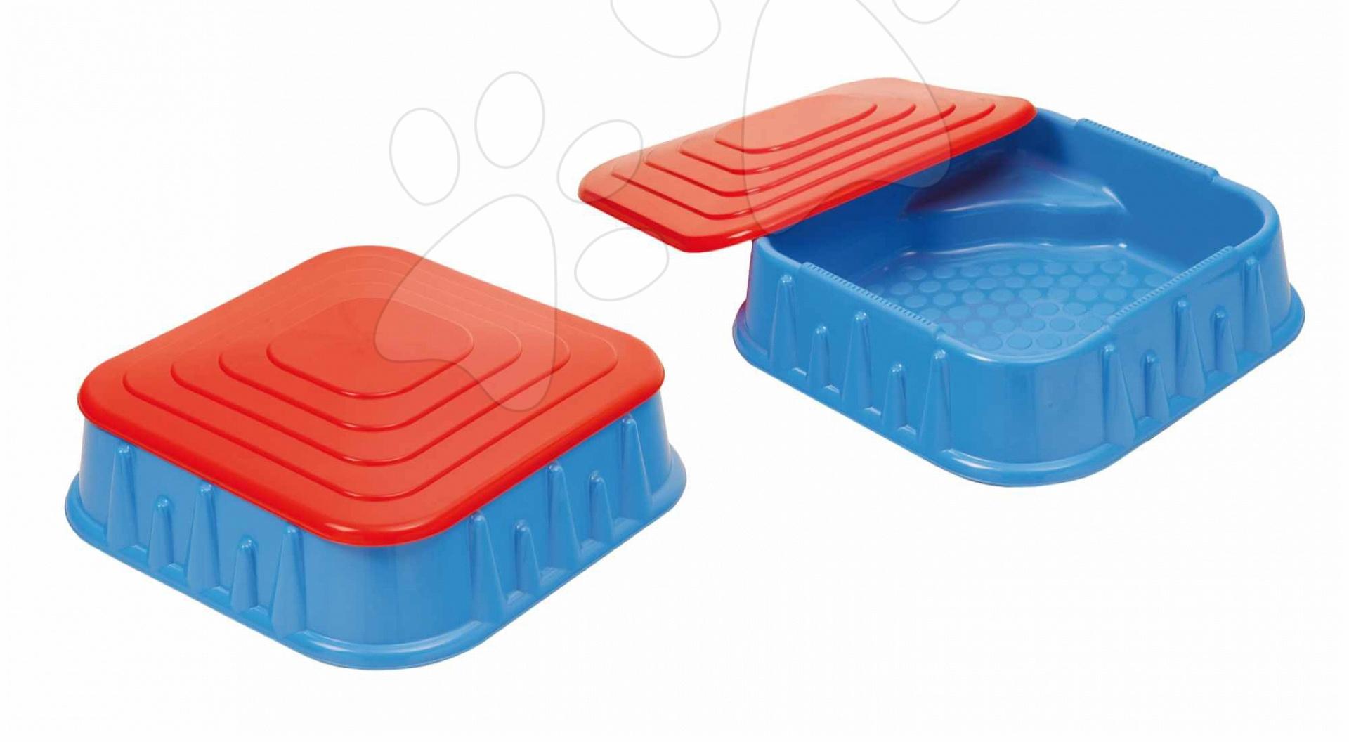 Nisipare pentru copii - Nisipar Starplast în formă pătrată cu capac volum de 60 litri albastru-roşu de la 24 luni