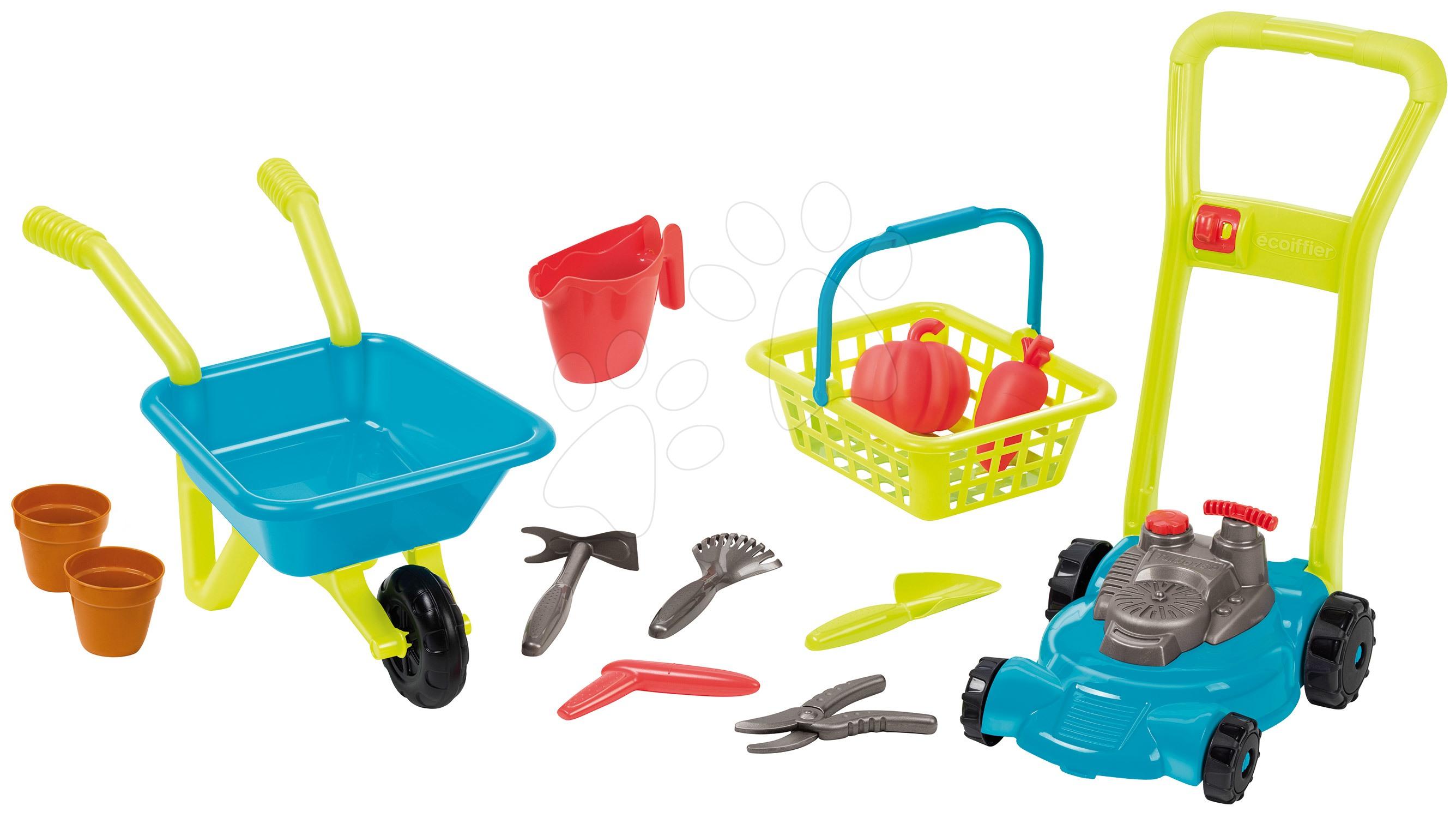 Hry na záhradníka - Fúrik a kosačka Garden&Seasons Écoiffier s košíkom a náradím na záhradu od 18 mes