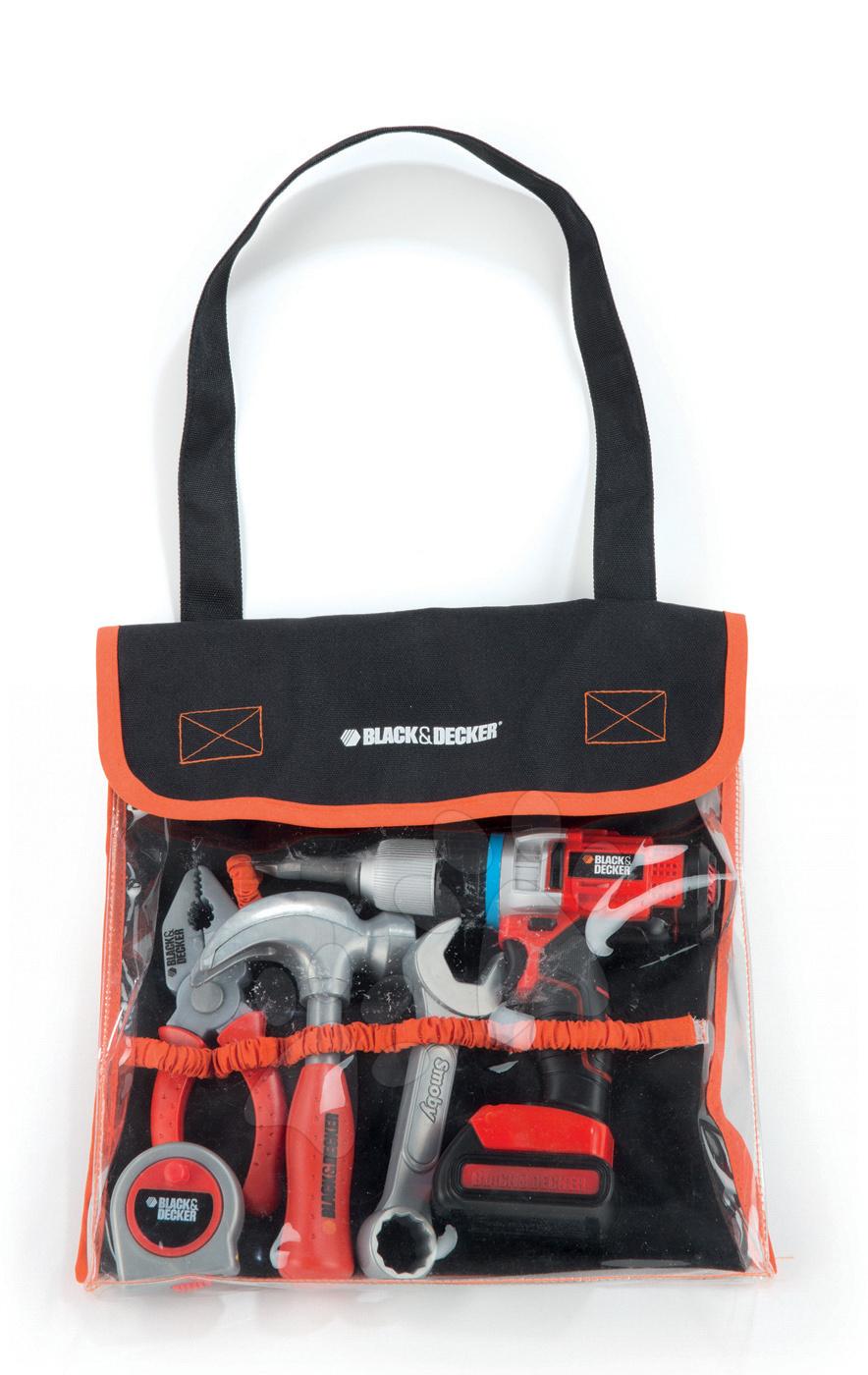 Pracovní nástroje Black&Decker Smoby v tašce s mechanickou vrtačkou 6 kusů
