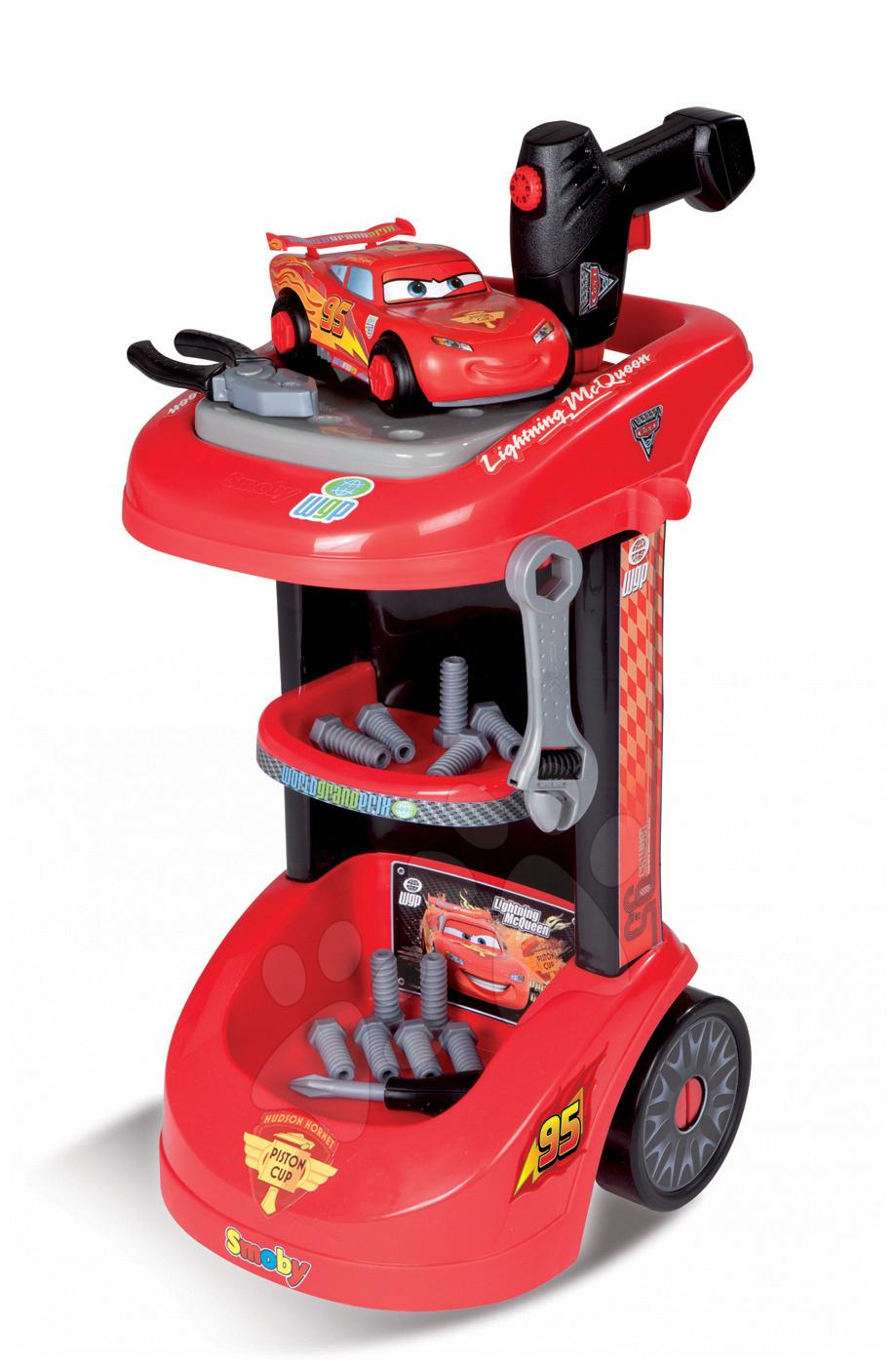 Otroška delavnica - Delovni voziček Avtomobili Smoby z mehanskim vrtalnikom, avtomobilom McQueen in 27 dodatki