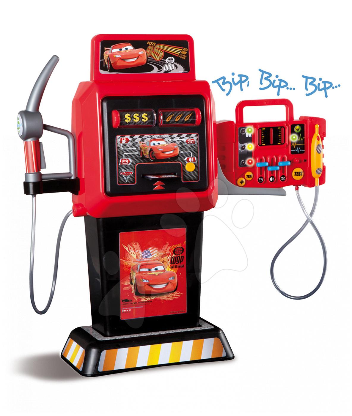 Pracovná detská dielňa - Benzínová pumpa Autá 2 Smoby elektronická so zvukom a svetlom