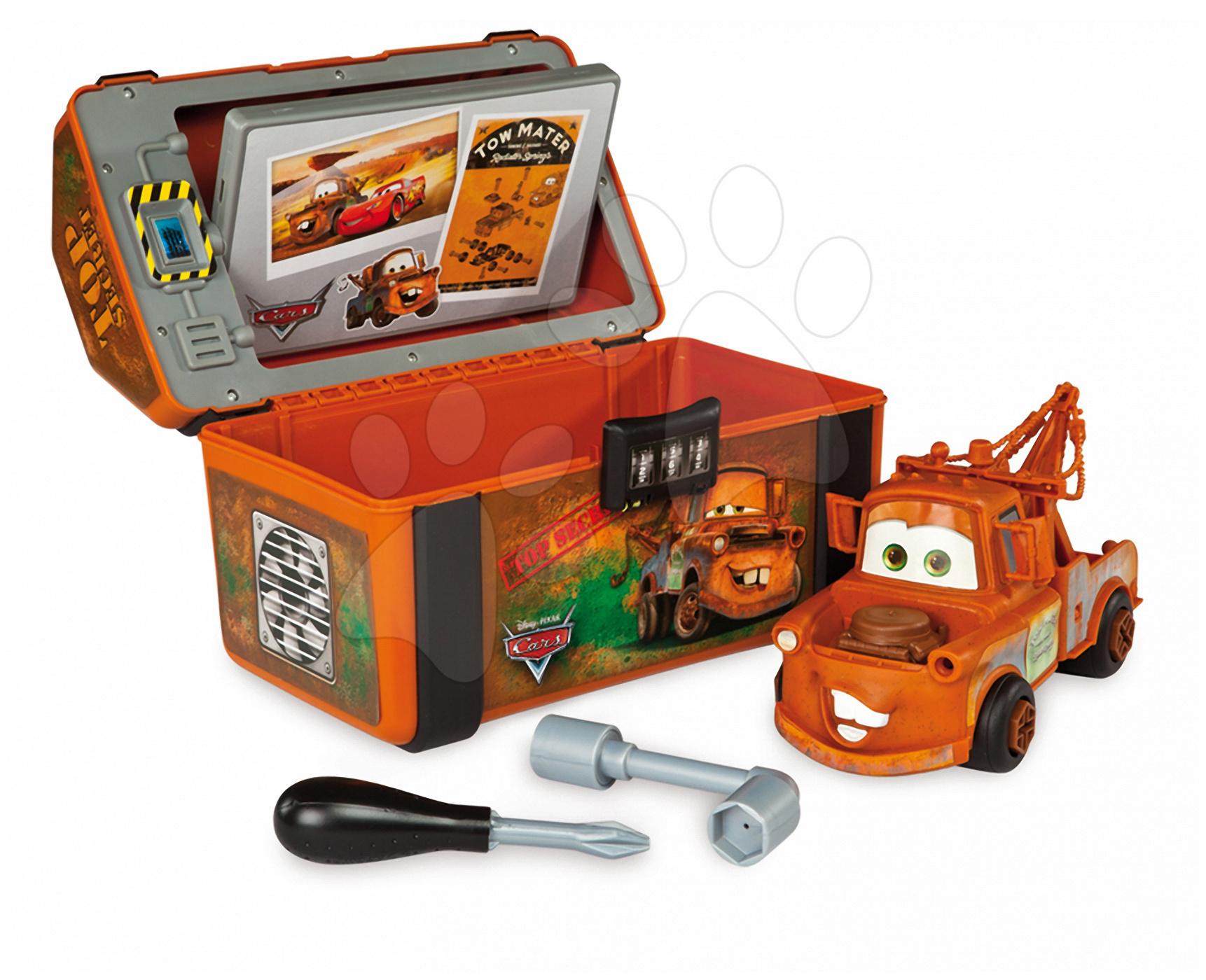 Pracovný kufrík Autá 2 Spy Box Smoby s autíčkom Mater a pracovnými nástrojmi