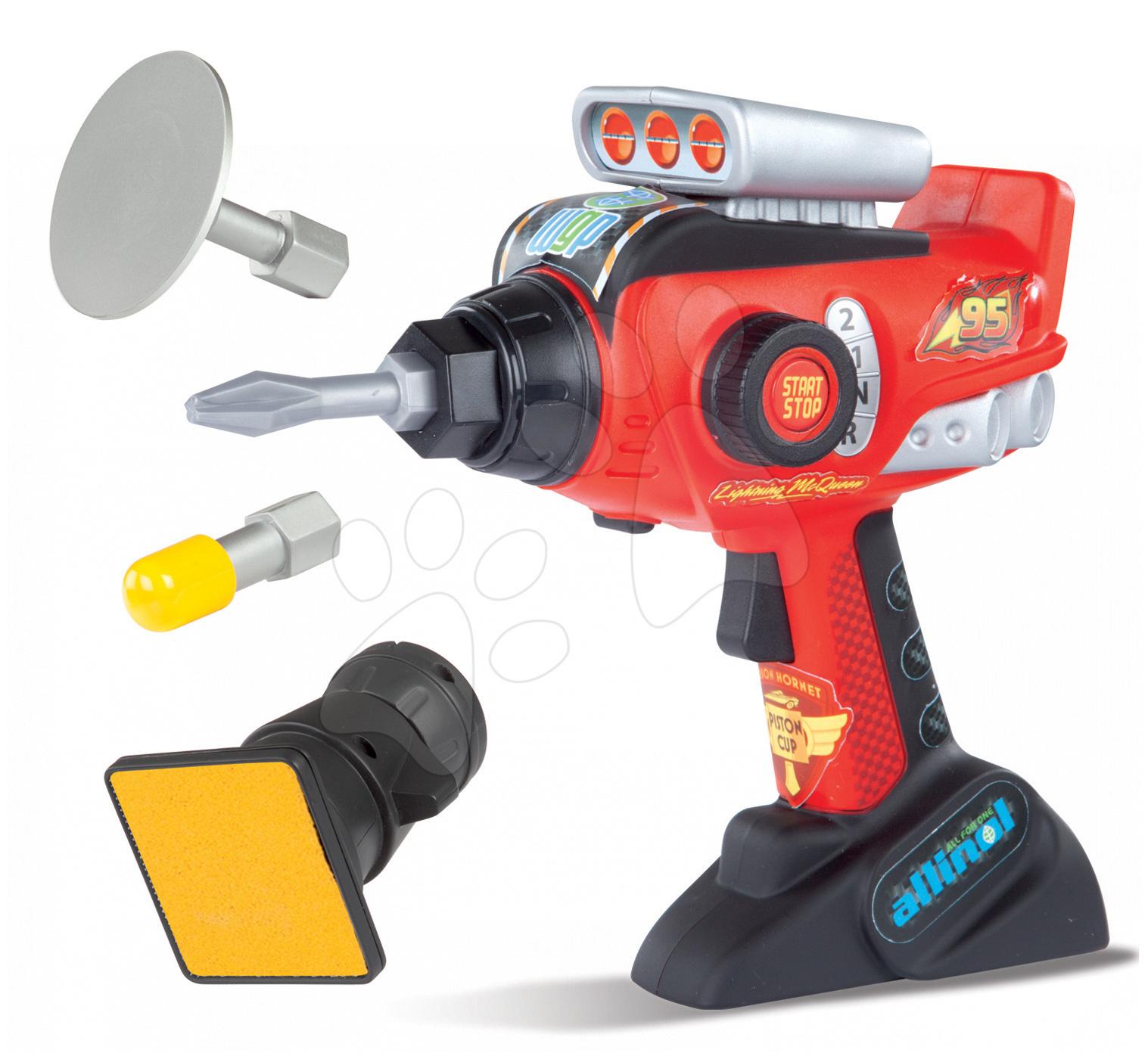 Náradie a nástroje - Vŕtačka Autá Smoby elektronická so zvukom a 4 hlavicami