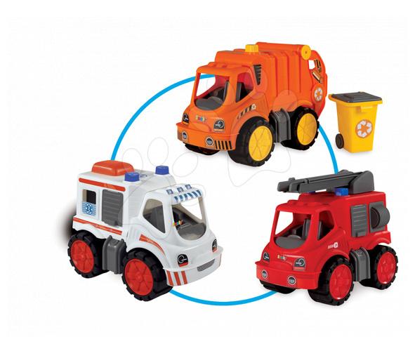 Staré položky - Súprava 3 autíčok Maxi Bolide Smoby sanitka, hasičské a smetiarske auto dĺžka 45 cm
