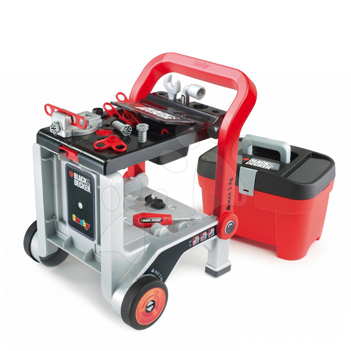 Smoby pracovný vozík Black&Decker Devil Workmate 3v1 a kufrík s náradím 500187 červeno-čierny