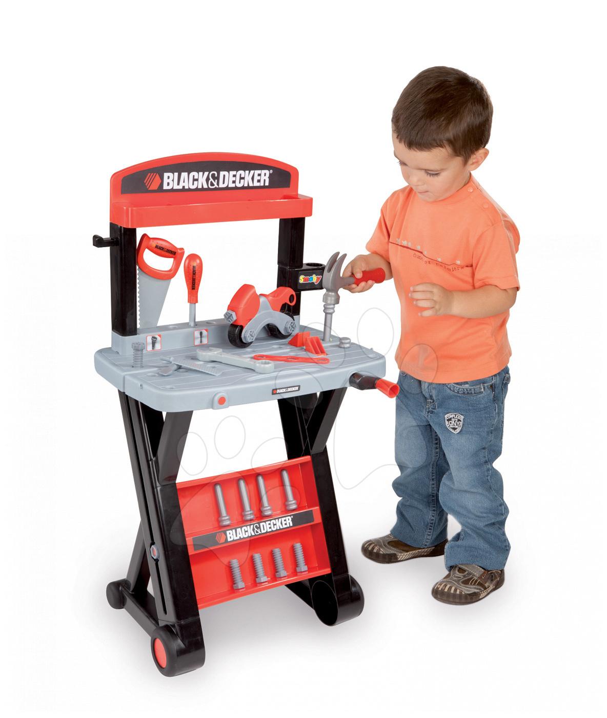 Pracovná detská dielňa - Pracovný stôl Black&Decker Premier Etabli Smoby s 20 doplnkami