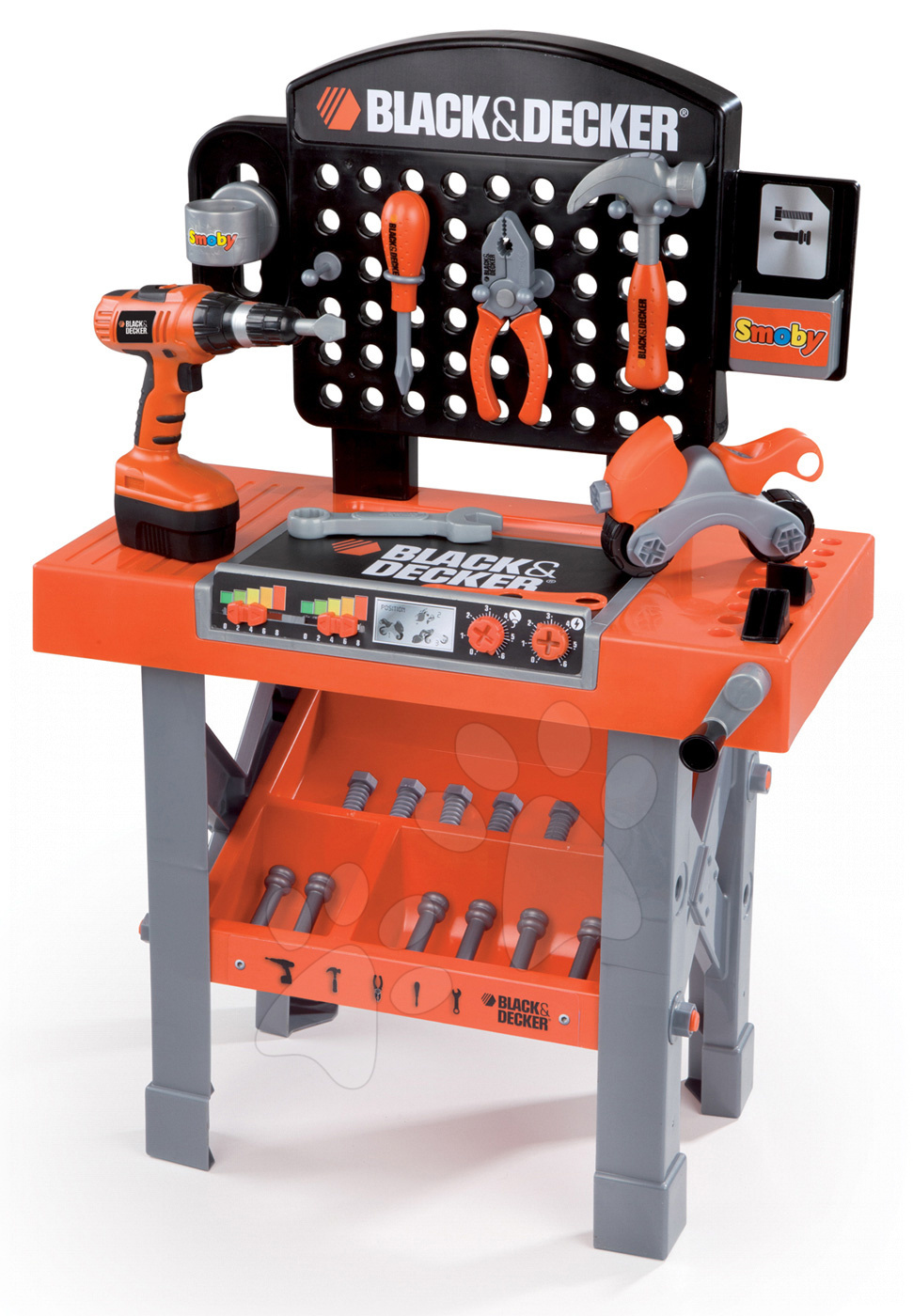Pracovní dílna Black&Decker Smoby s mechanickou vrtačkou, motorkou a 25 doplňky