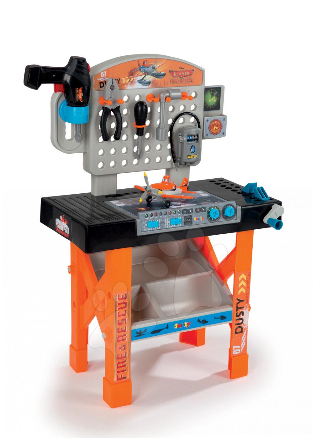 Szerelőasztal Repcsik Fire&Rescue Aero Smoby mechanikus fúrógéppel, Dusty kisrepülővel és 22 kiegészítővel