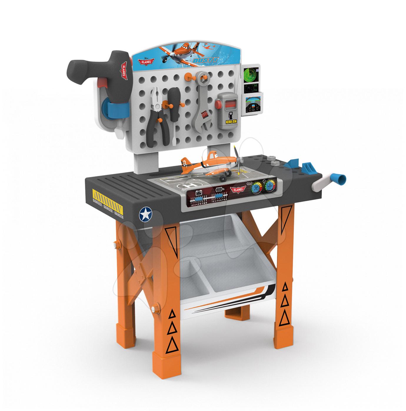 Pracovná detská dielňa - Pracovný stôl Lietadlá Smoby s mechanickou vŕtačkou, lietadlom Dusty a 20 doplnkami