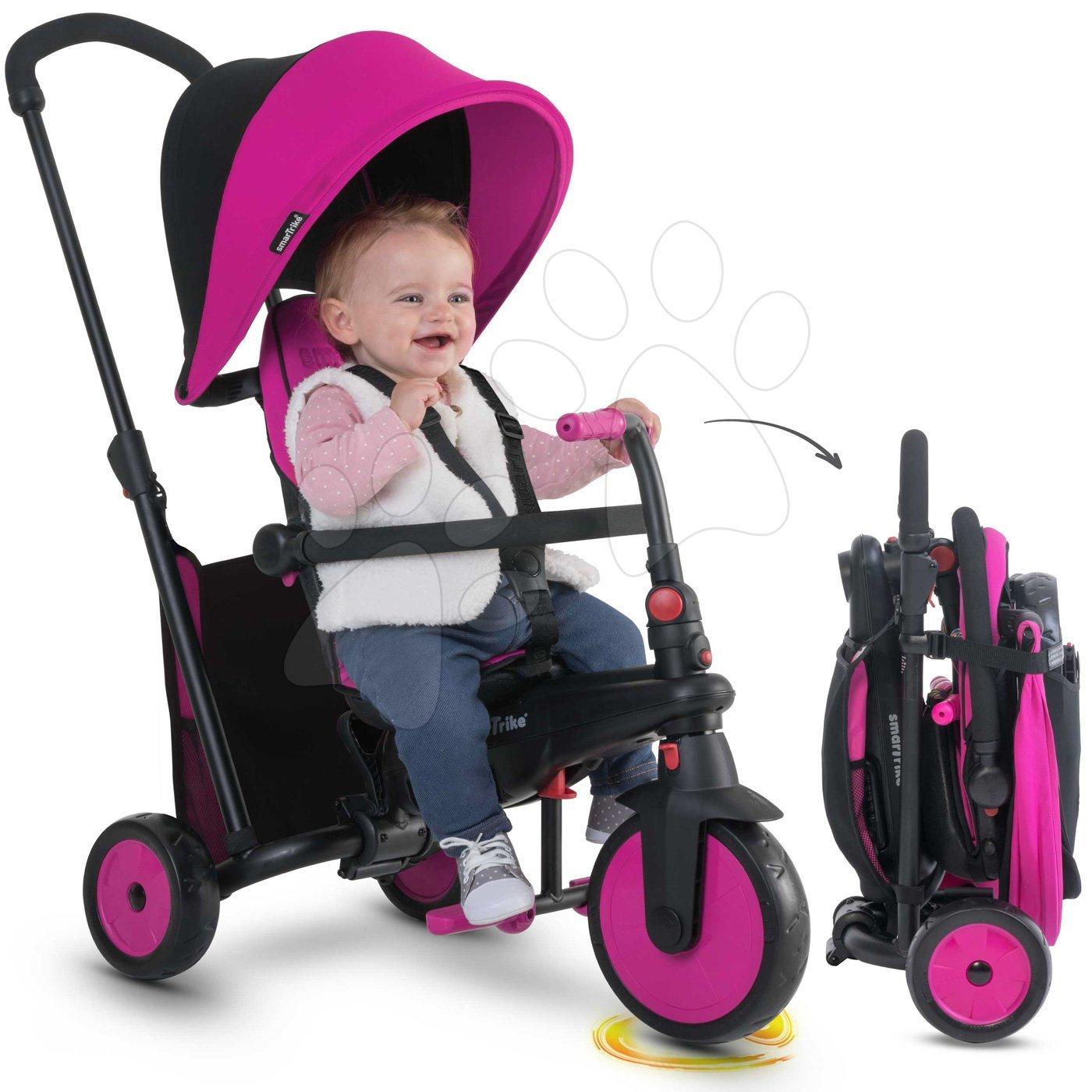 Tricicletă pliabilă smarTfold 6in1 300 Plus TouchSteering smarTrike cu roţi EVA roz de la 10 luni