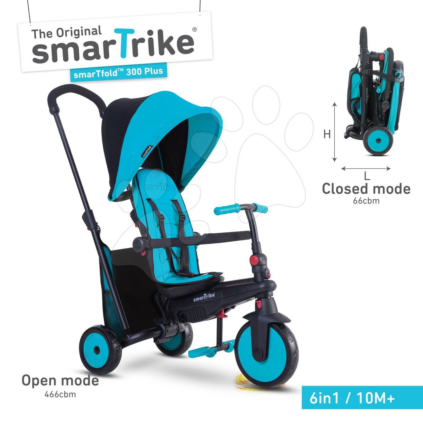 Tříkolka skládací smarTfold 6v1 smarTrike 300 Plus TouchSteering s EVA kolečky modrá od 10 měsíců