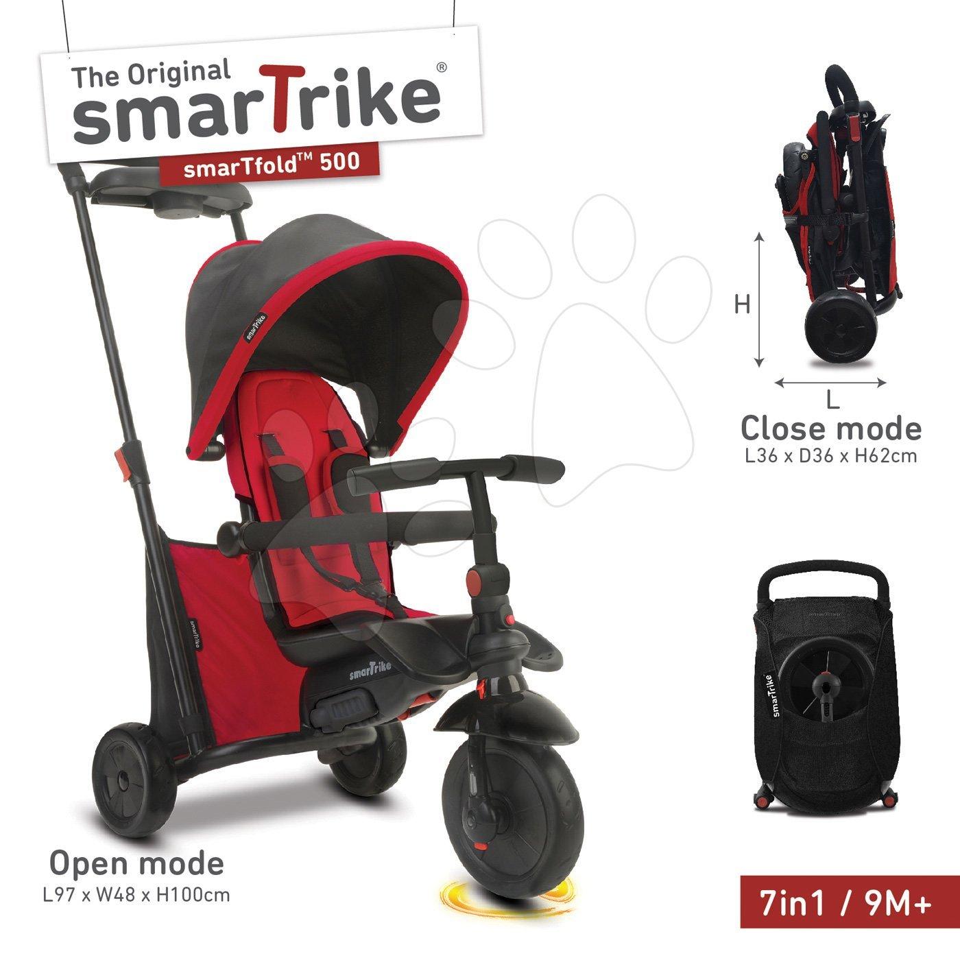 Tricikli összecsukható smarTfold 7in1 smarTrike 500 Touch Steering párnázott EVA kerekekke piros 9 hó-tól