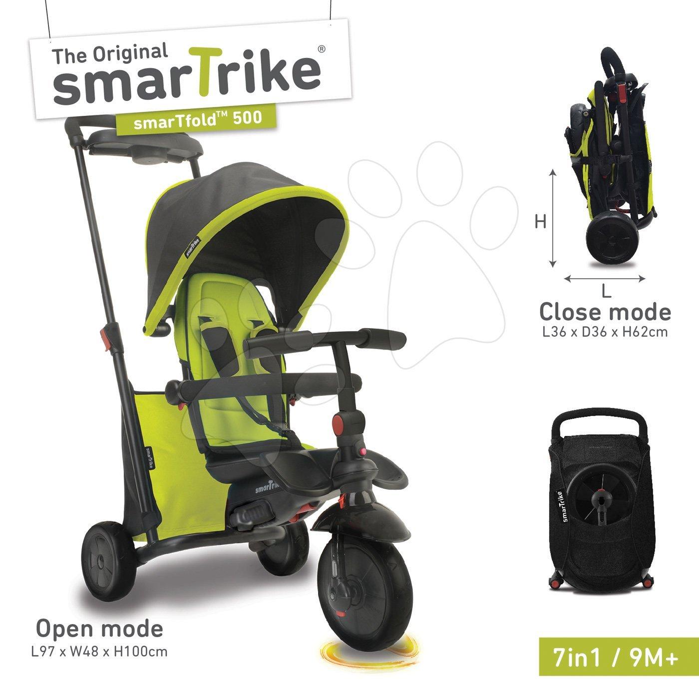 Tricicletă pliabilă smarTfold 7in1 smarTrike 500 verde TouchSteering căptuşită cu roţi EVA verde de la 9 luni