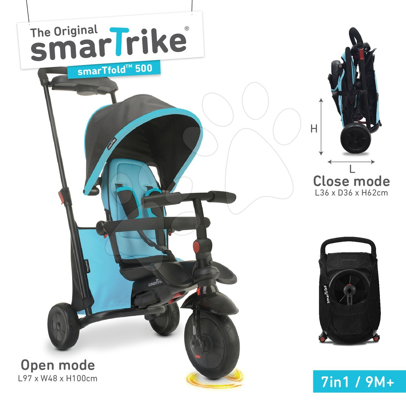 Tricikli összecsukható smarTfold 7in1 smarTrike 500 Touch Steering párnázott EVA kerekekkel kék 9 hó-tól