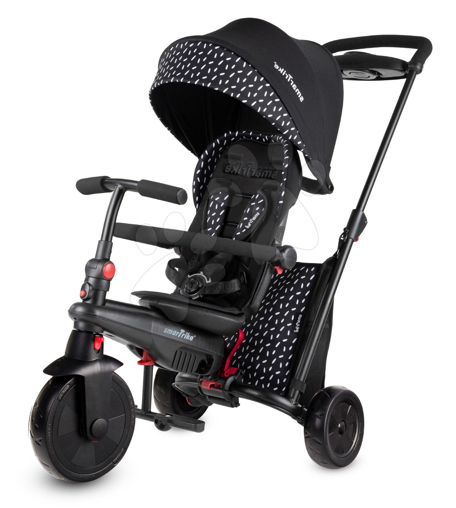 Tricicletă pliabilă smarTfold 600 S Black&White 7în1 smarTrike de lux Touch Steering căptușită roți EVA de la 9 luni