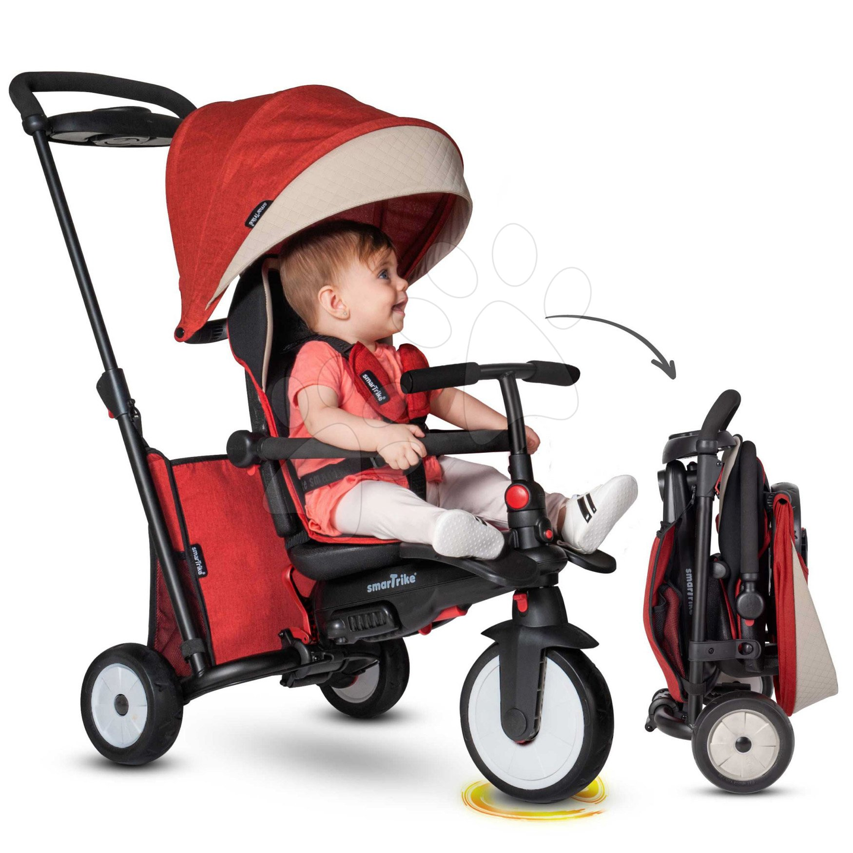 Tříkolka skládací smarTfold 7v1 Stroller Melange smarTrike 500 TouchSteering červená polstrovaná s EVA koly od 9 měsíců jako kočárek