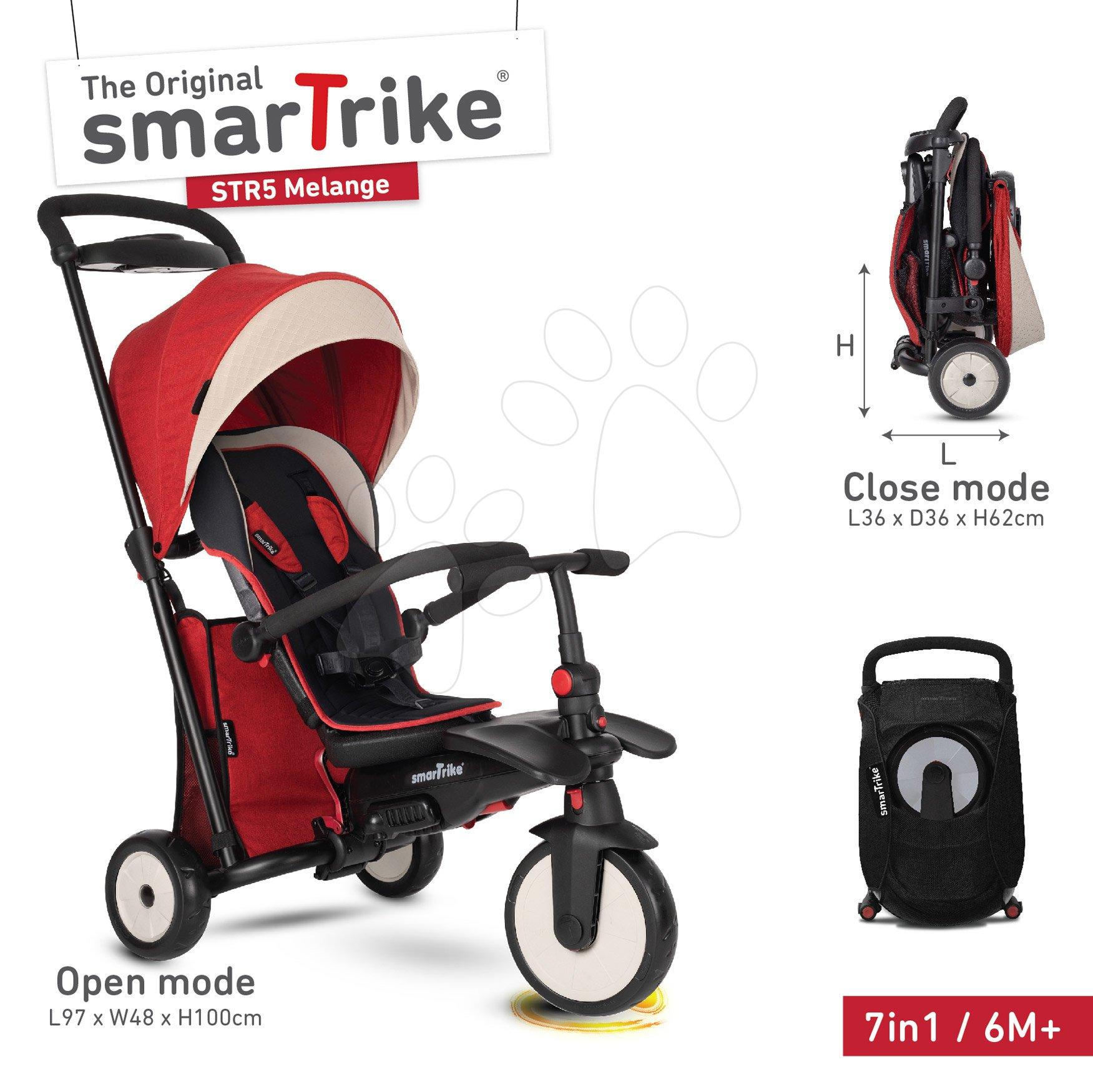 Trojkolka skladacia smarTfold 7v1 500 Stroller Melange smarTrike TouchSteering červená polstrovaná s EVA kolesami od 9 mesiacov ako kočík