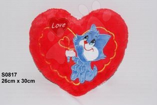 Plyšové vankúše - Srdiečko s mačičkou vankúšik 26*30 cm