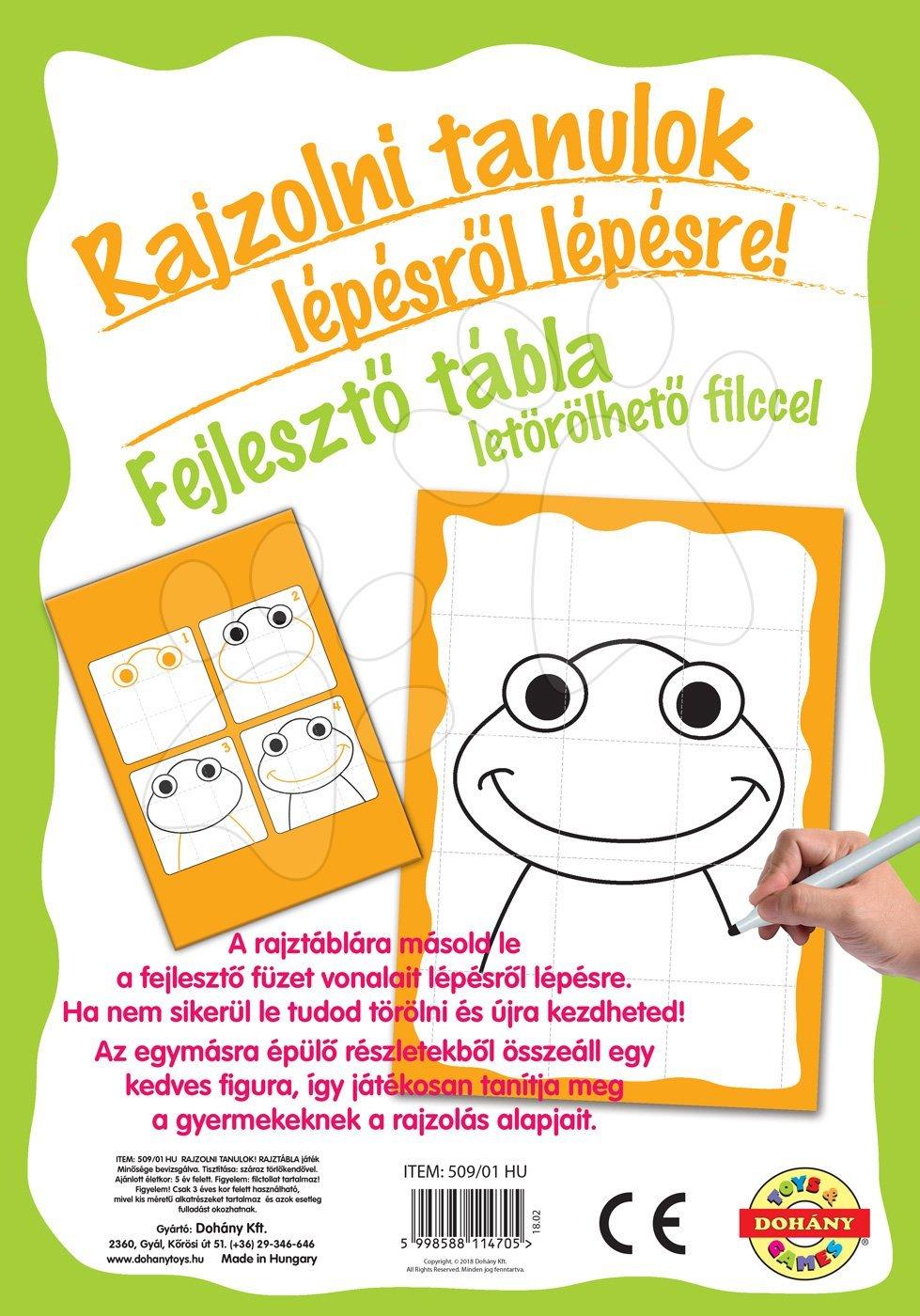 Dohány naučná hra tabule Kresli a smaž zelená žába – Učíme se kreslit pomocí obrázků 509-1