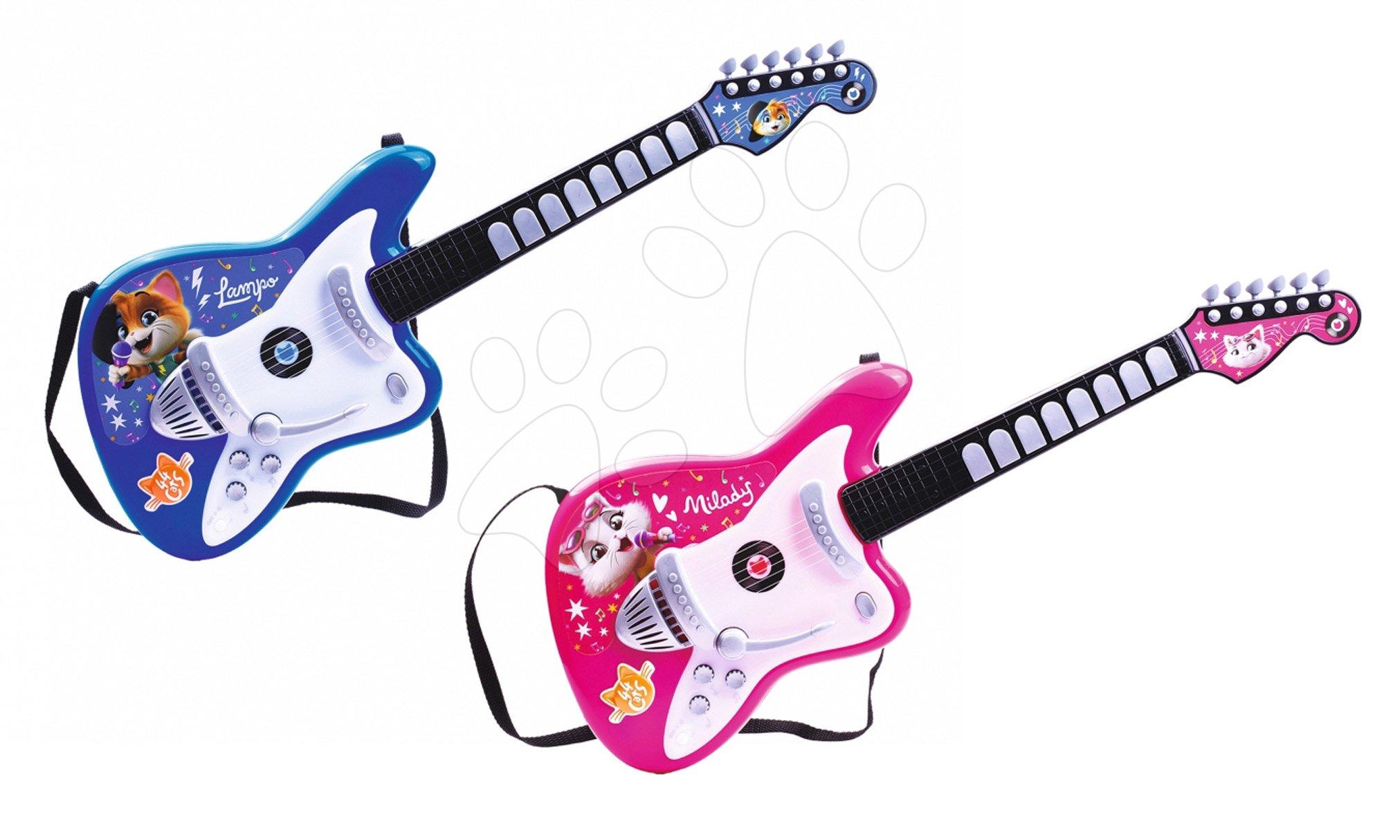 Dětské hudební nástroje - Set kytary a baskytary 44 Cats Smoby modrá a růžová s množstvím světelných a zvukových funkcí od 5 let