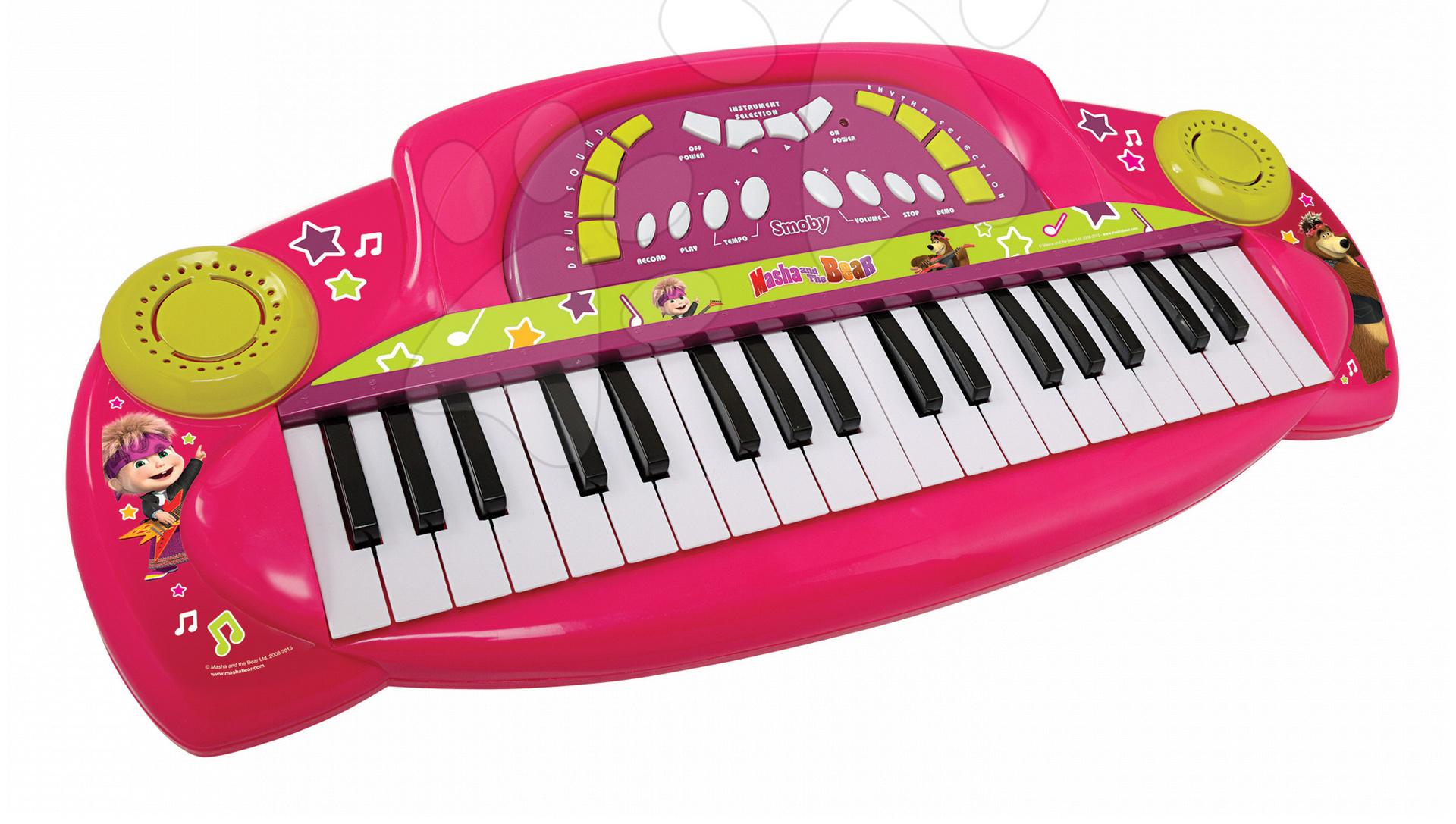 Detské hudobné nástroje - Hudobné piano Máša Smoby elektronické so zvukmi ružové
