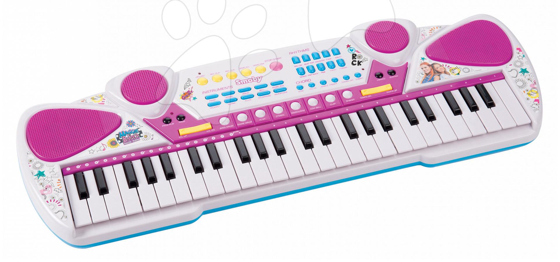 Piano Maggie&Bianca Smoby elektronické so 49 klávesami a napojením a audio prehraváč ružové od 5 rokov