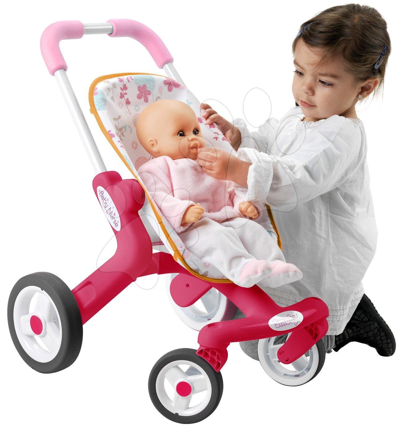 Kočárky od 18 měsíců - Baby nurse kočárek Poussette Pop sportovní Smoby sportovní, výška rukojeti 53,5 cm, od 18 měsíců