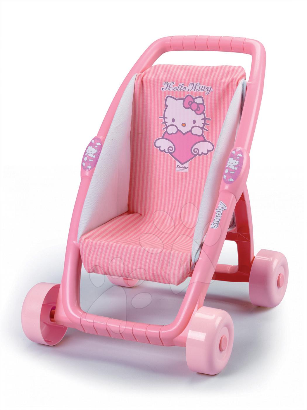 Kočárek pro panenku Hello Kitty Ma Premier Smoby bugina (49 cm rukojeť) světle růžový od 18 měsíců