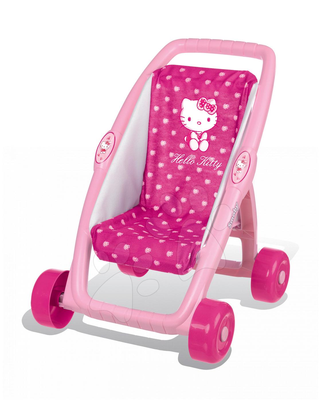 Kočíky od 18 mesiacov - Kočík pre bábiku Hello Kitty Premiere Smoby bugina (49 cm rúčka) tmavoružový od 18 mes